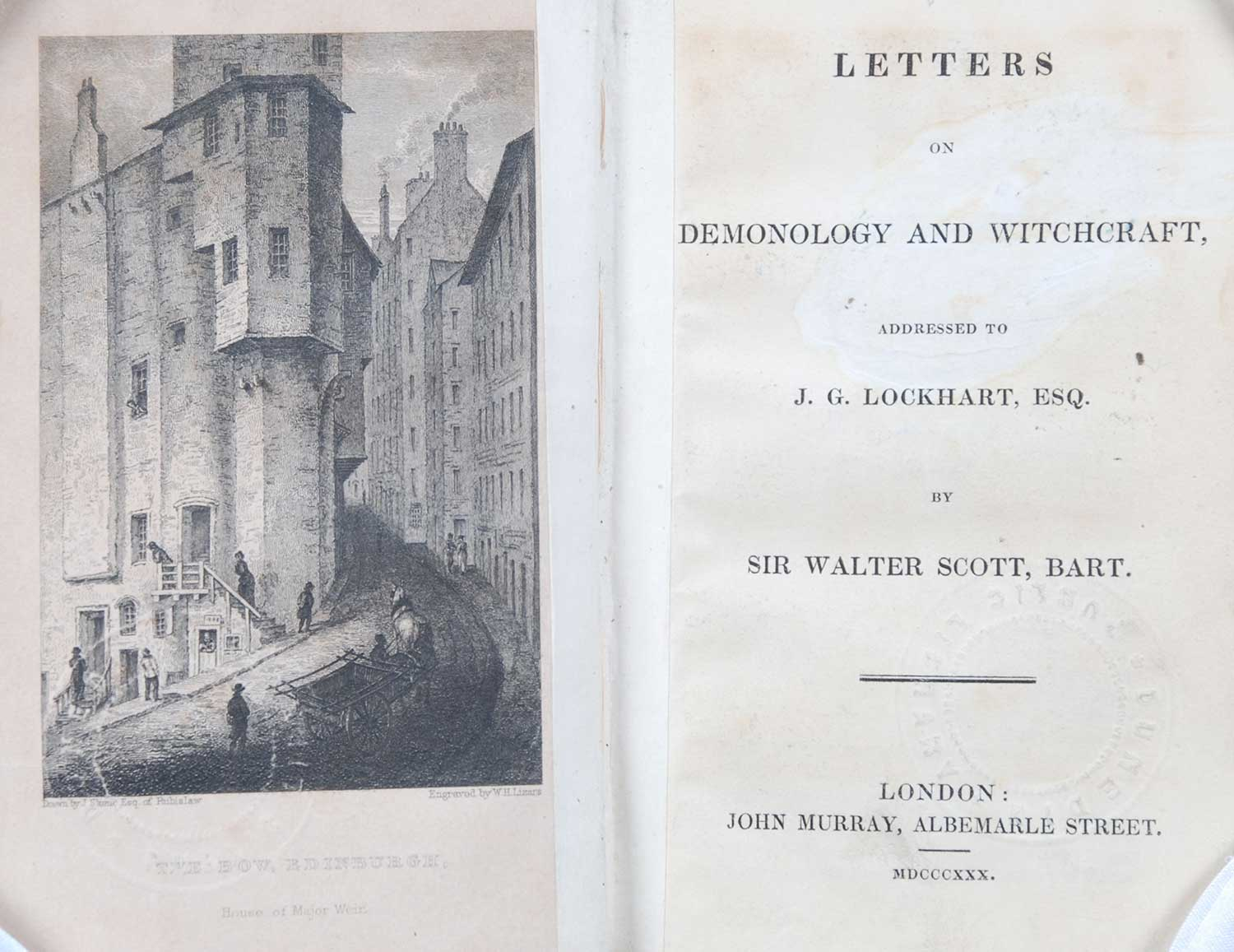 Sir Walter Scott. <em>Letters on demonology and witchcraft: addressed to J.G. Lockhart, Esq.</em> [1st edition]. London: John Murray, 1830.