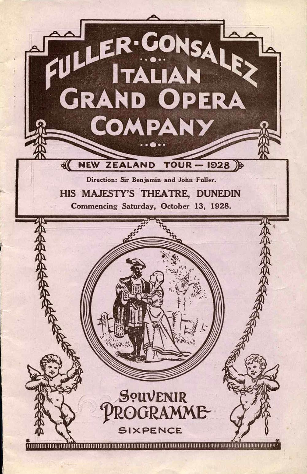 <em>Lucia di Lammermoor</em>. Gaetano Donizetti; from Sir Walter Scott's novel 'The Bride of Lammermoor'. (Fuller-Gonsalez Italian Grand Opera Company). His Majesty's Theatre, Dunedin, Oct. 13, 1928.