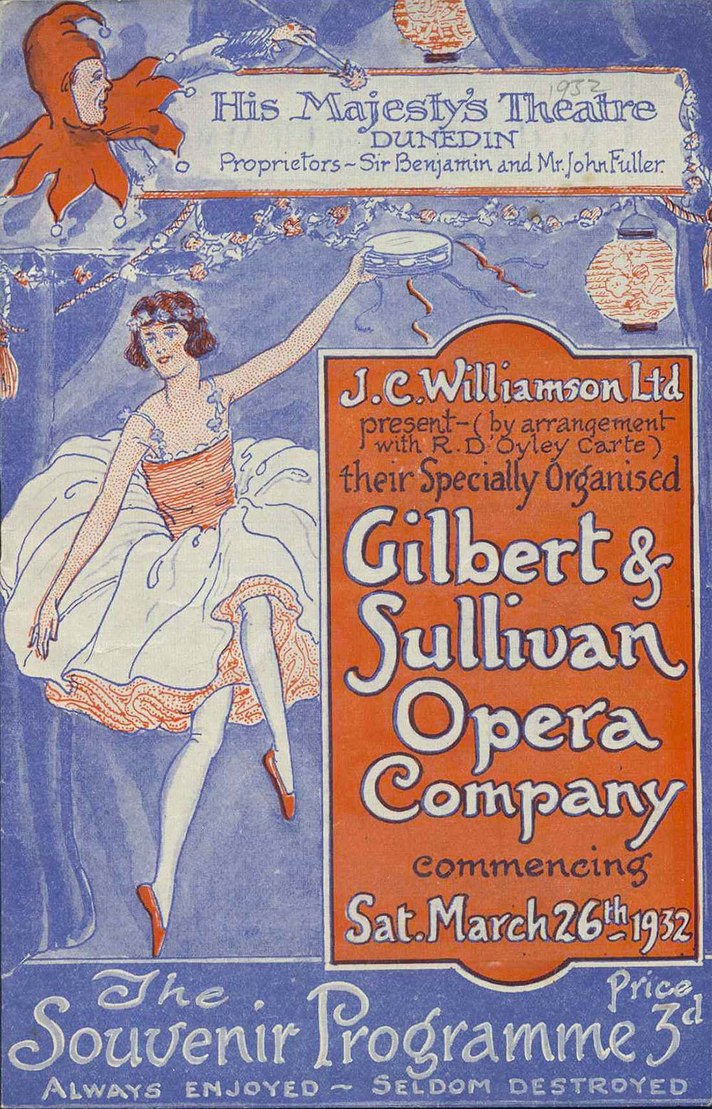 <em>Iolanthe</em>. Libretto by W.S. Gilbert; music by Arthur Sullivan. (J.C. Williamson's Gilbert & Sullivan Opera Company). His Majesty's Theatre, Dunedin, Mar. 26, 1932.