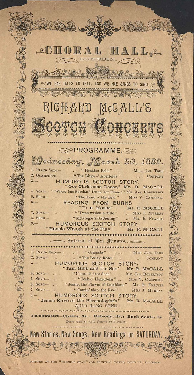 <em>Richard McCall's Scotch concerts</em>. Choral Hall, Dunedin, Mar. 20, 1889.
