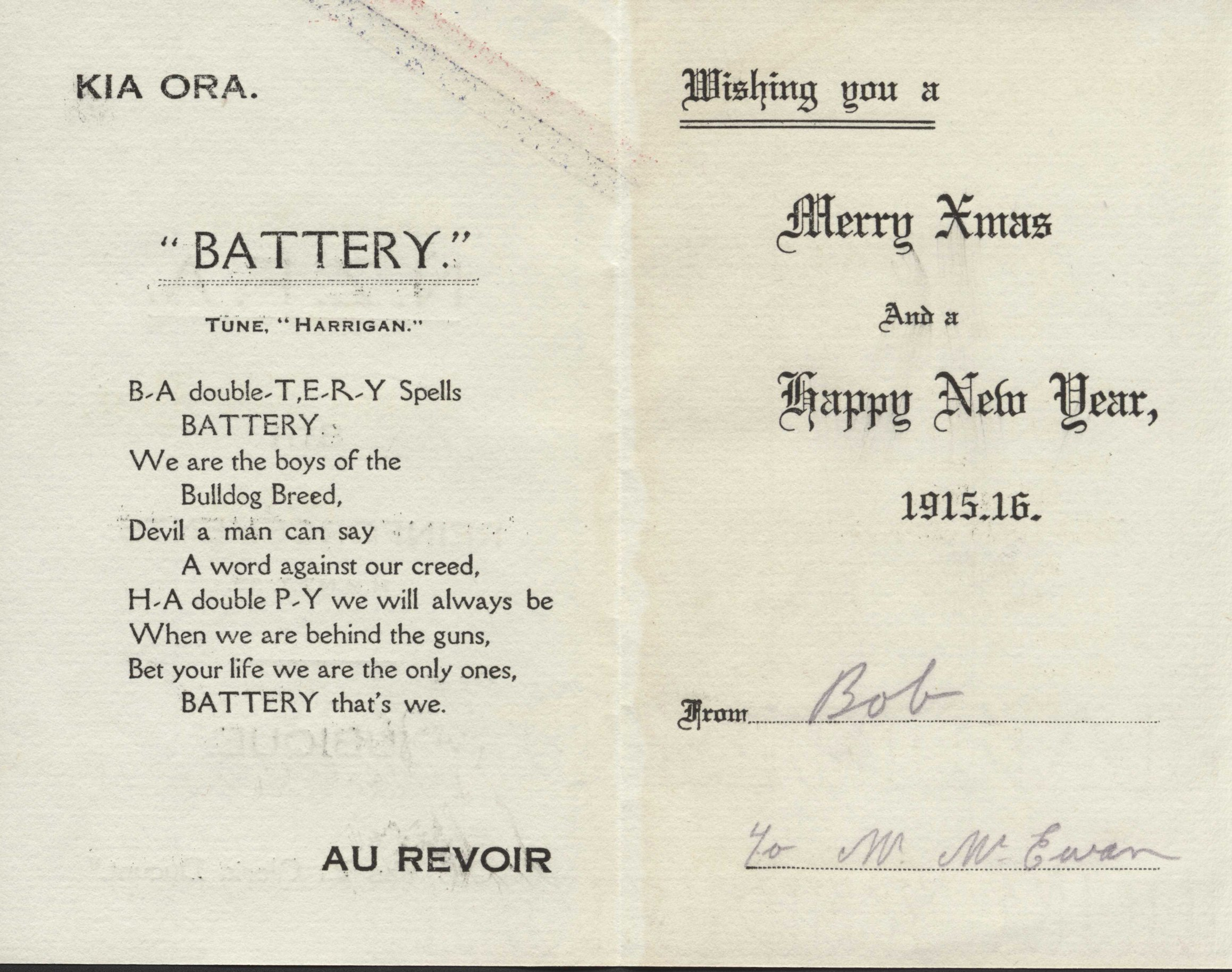 Christmas Card 1915-16