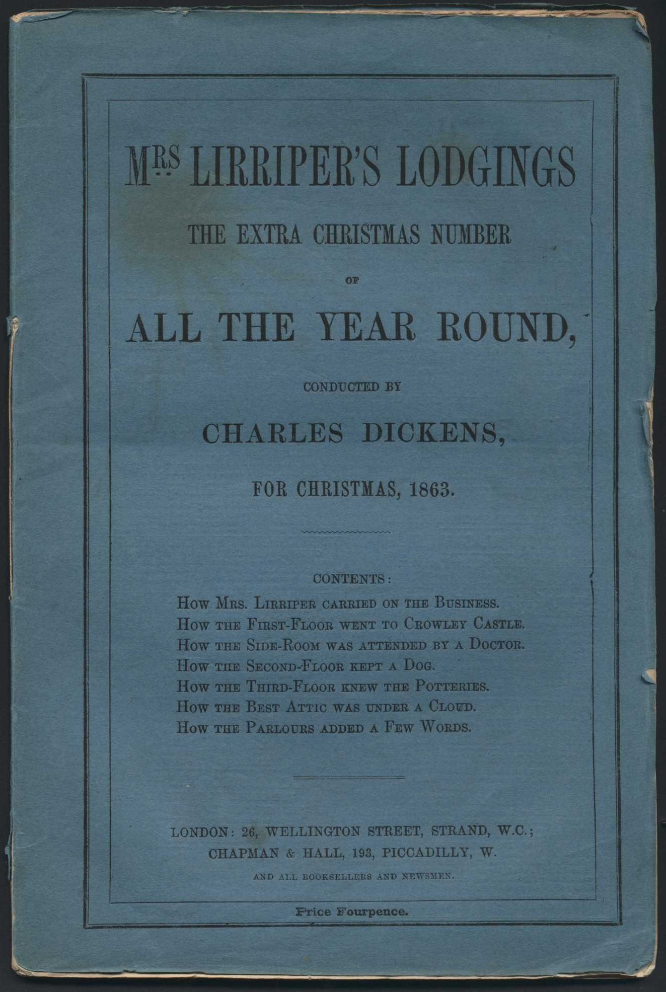 "Charles Dickens. ""Mrs Lirriper's Lodgings"". The extra Christmas number of All the Year Round, 1863."