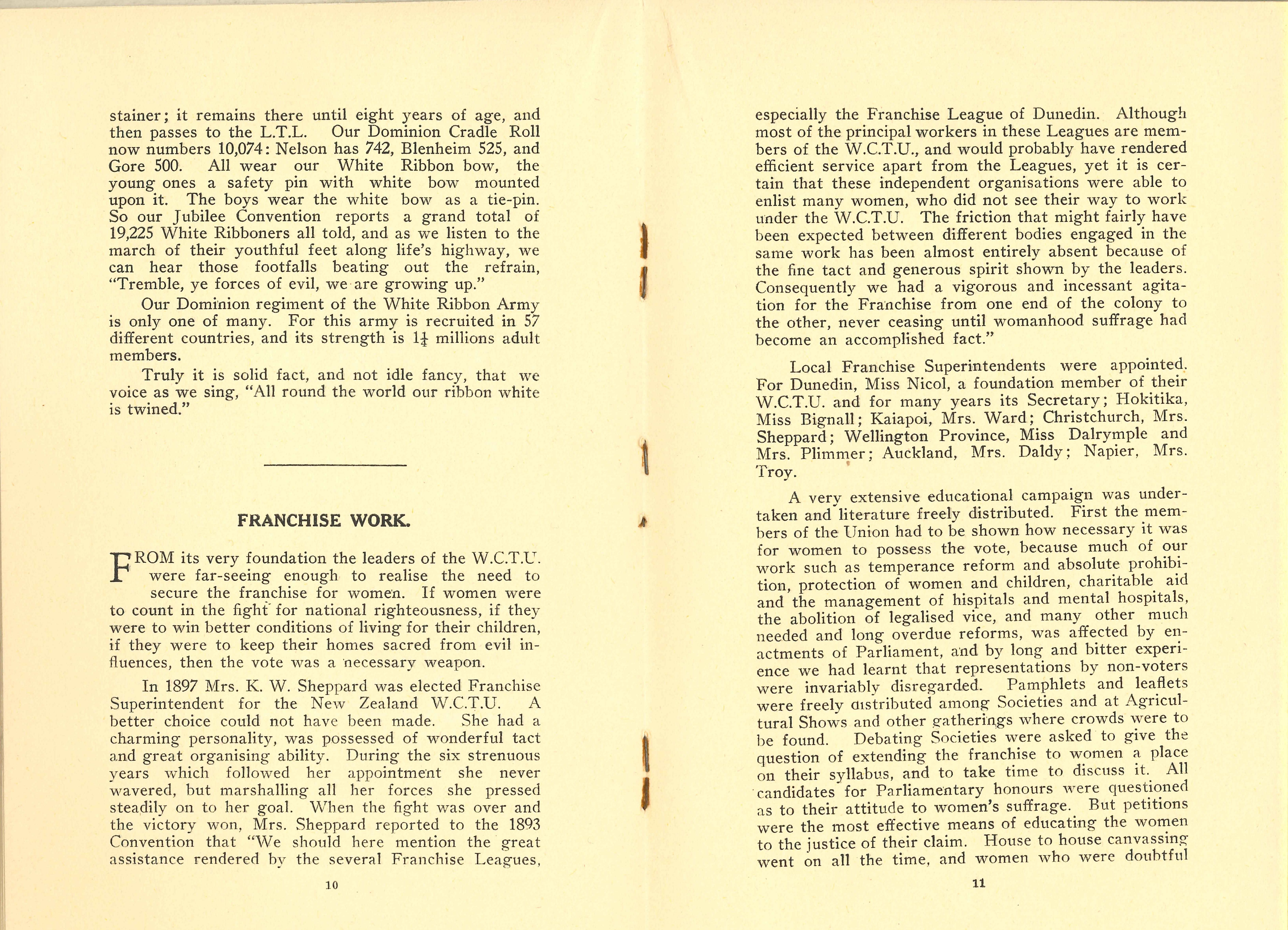New Zealand Women's Christian Temperance Union. W.C.T.U.: fifty golden years. Wellington: Wright & Carman, Printers, 1934.