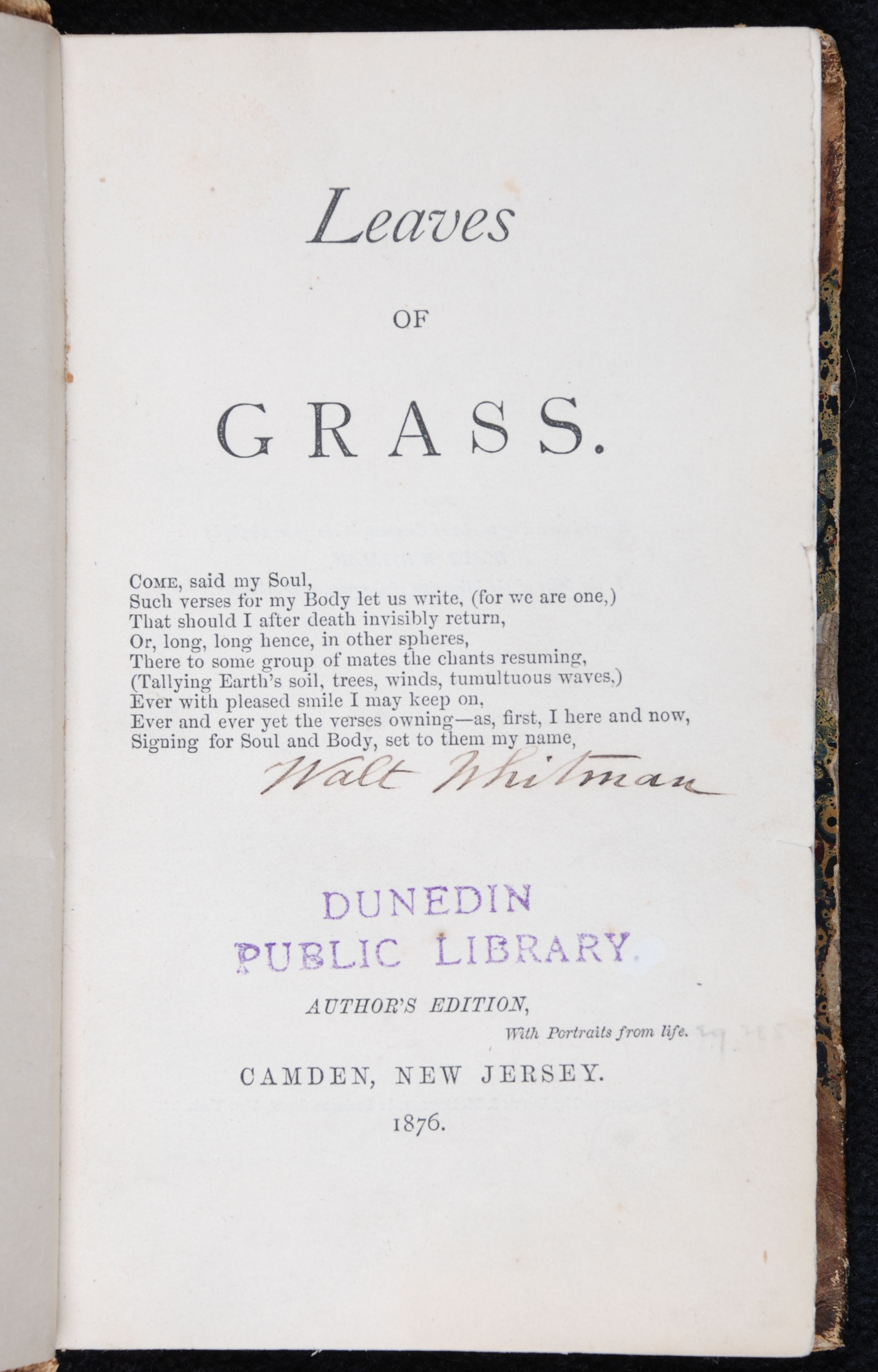 Walt Whitman. Leaves of Grass. Author's edition. Camden, N.J., 1876.