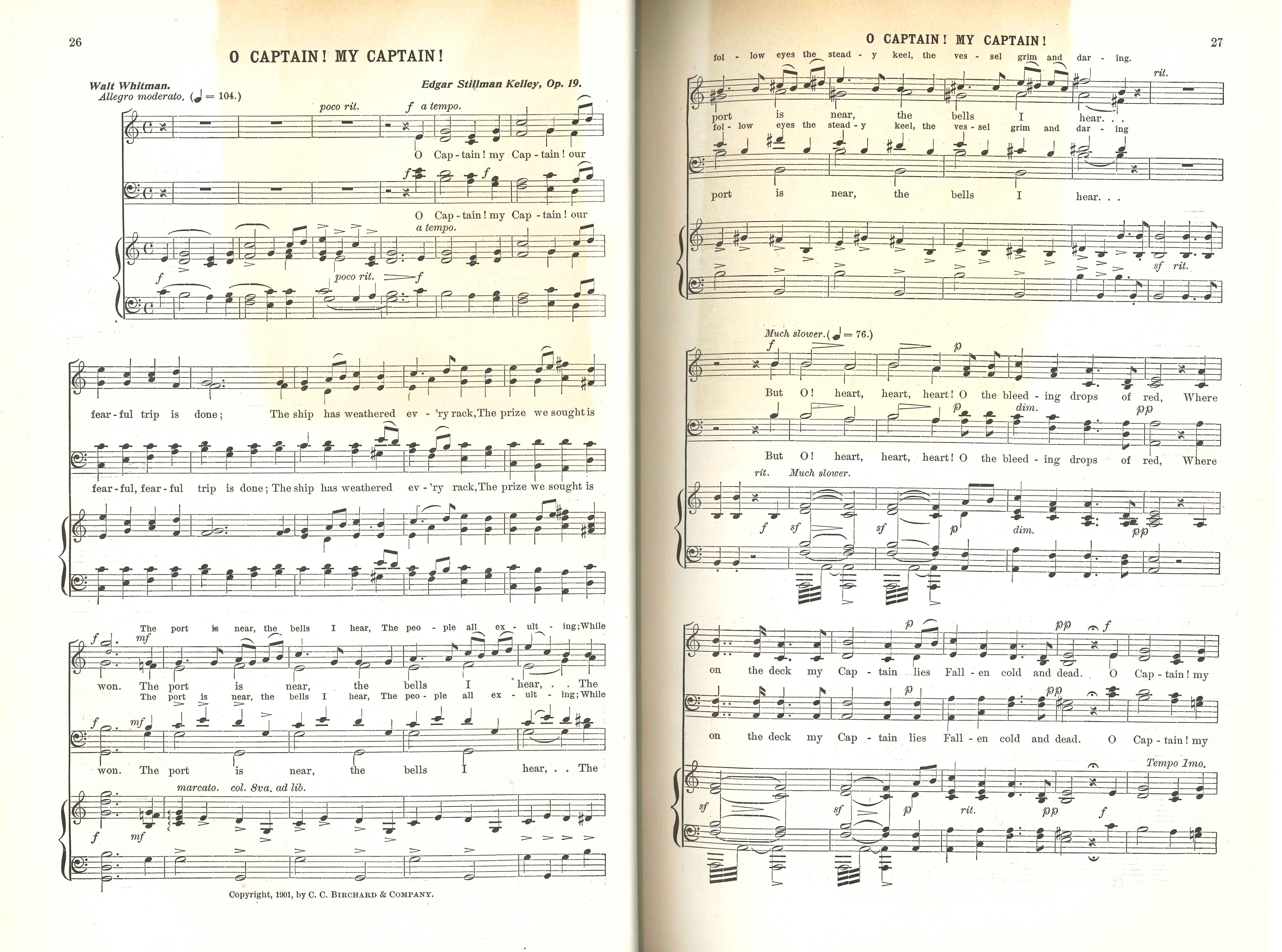 W.L. Tomlins (editor). The Laurel Song Book: for Advanced Classes in Schools, Academies, Choral Societies, etc. Boston: C.C. Birchard & Company, 1901.
