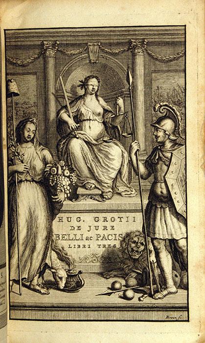 Hugo Grotius. De jure belli ac pacis libri tres, in quibus jus naturæ & gentium, item juris publici præcipua explicantur … Amsterdam: Ex officina Westenina, 1712. RPRE 1712 Hol