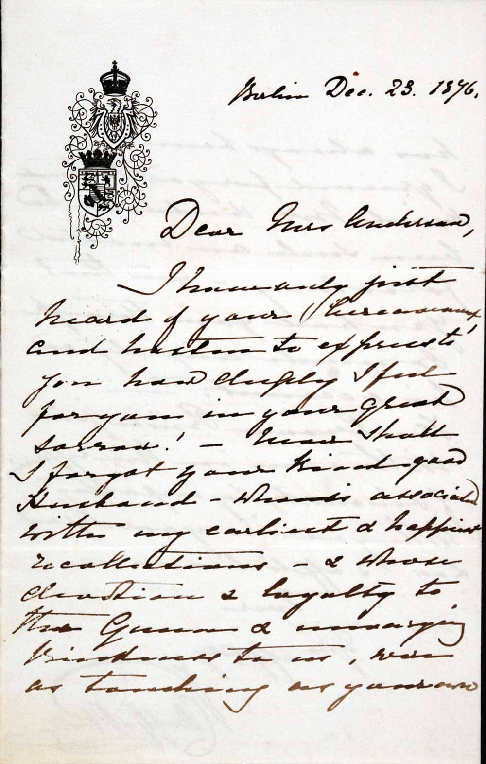 Letter signed. Empress Victoria, Consort of Frederick III (1840–1901), to Lucy Anderson (1797–1878), Berlin, 23 December 1876.