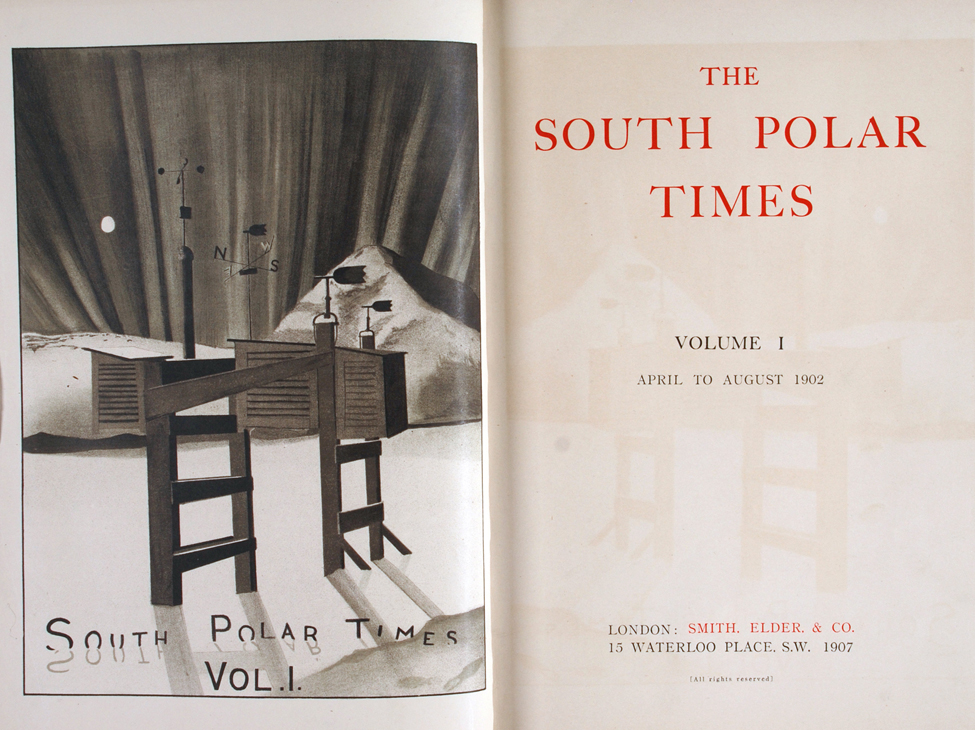 Ernest Shackleton, editor. <i>The South Polar Times</i>. London: Smith, Elder & Co., 1907–1914. Three volumes, volumes one and two displayed.