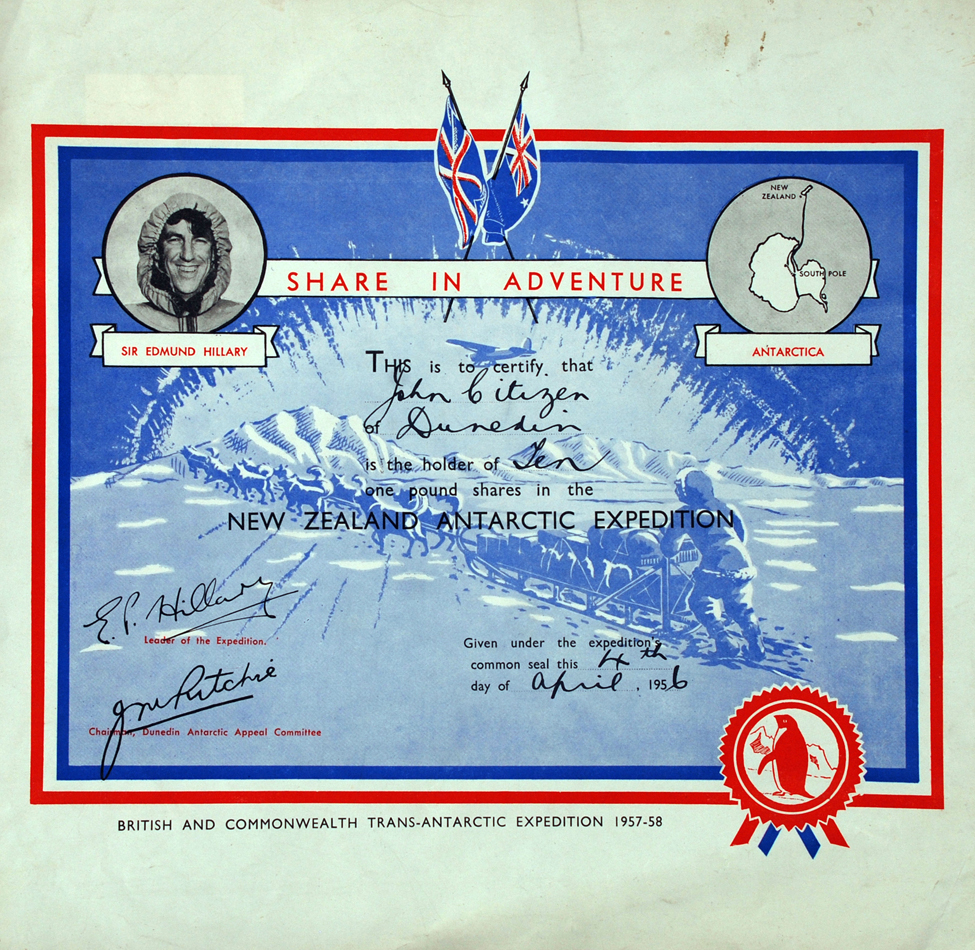 Share certificate, British and Commonwealth Trans-Antarctic Expedition. [Dunedin?]: Dunedin Antarctic Appeal Committee, 1956.