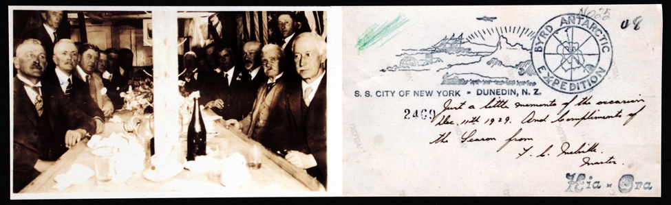 Postcard (copy). Members of the Otago Harbour Board on board the <i>City of New York</i> and verso of card, 11 December 1929.