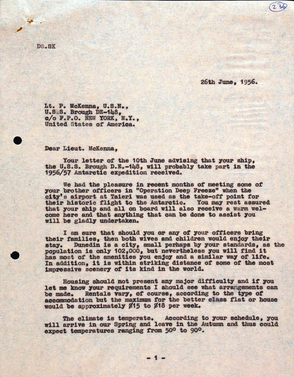 Letter. Mayor [L. M. Wright] to Lt. Patrick McKenna, the Octagon, Dunedin, 26 June 1956.