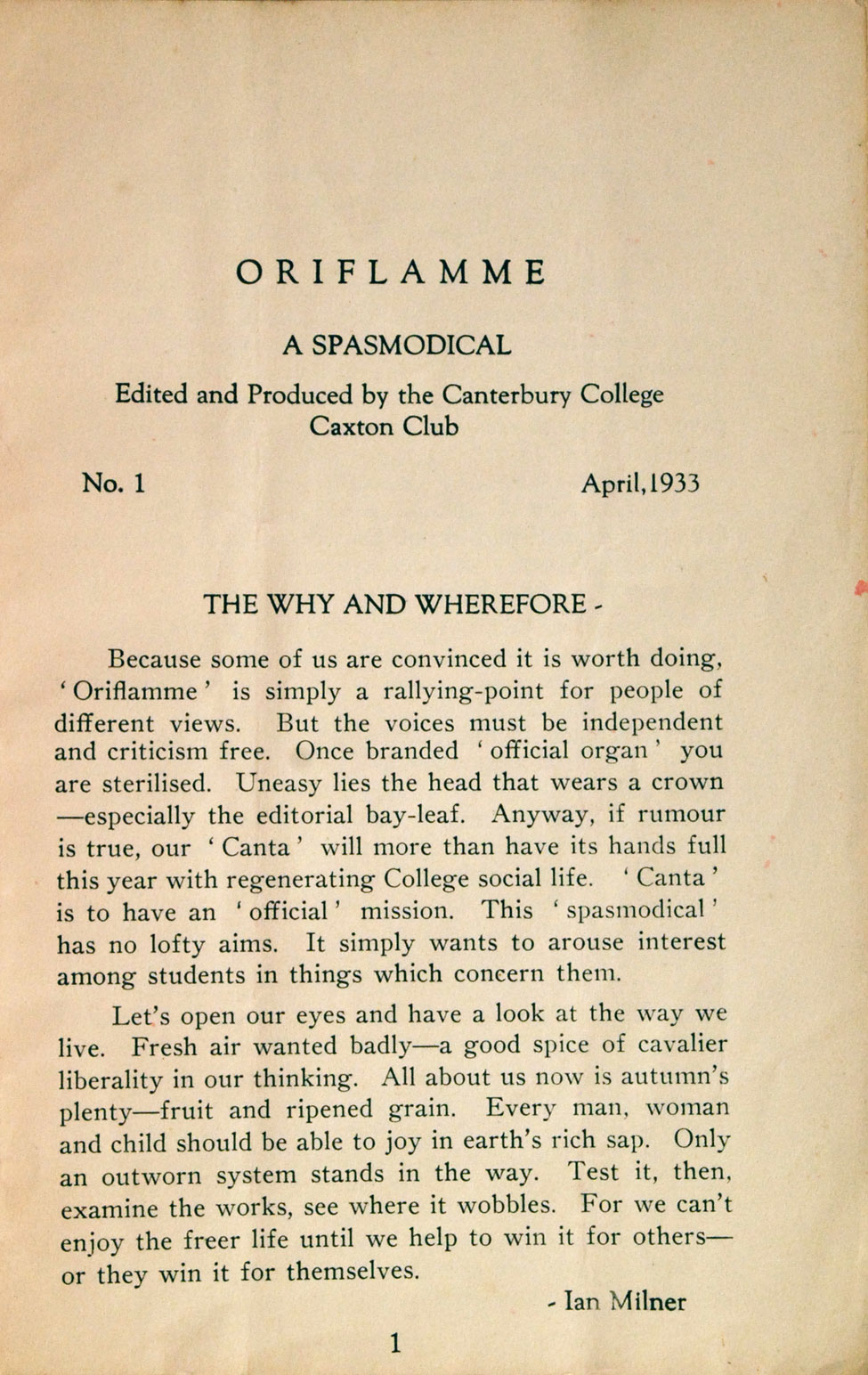 Oriflamme: A Spasmodical. <i>Christchurch: The Caxton Club Press, April 1933.</i>