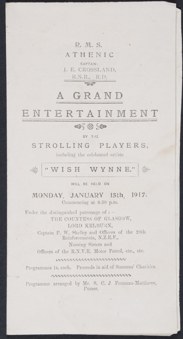 A Grand Entertainment by the Strolling Players. Programme. RMS Athenic, 15 January 1917