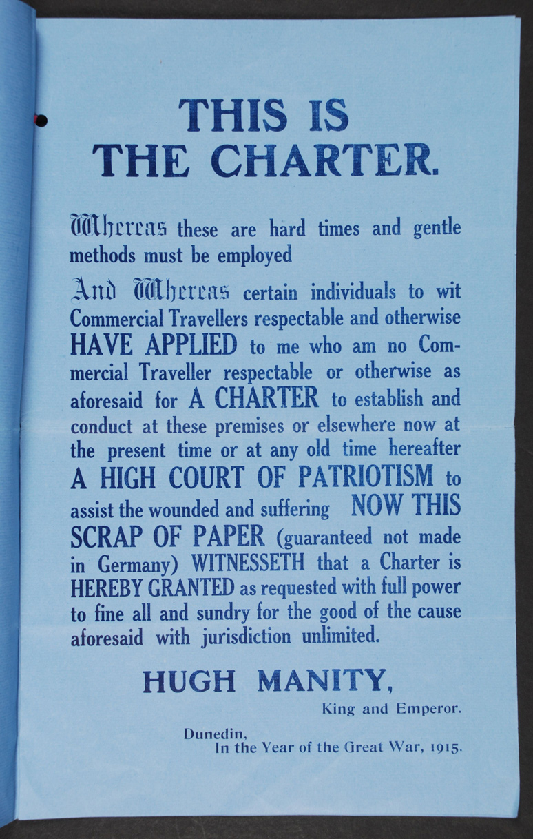 Court of Patriotism High and Full Charter. [Dunedin: New Zealand Commercial Travellers' and Warehousemen's Association?], 1915