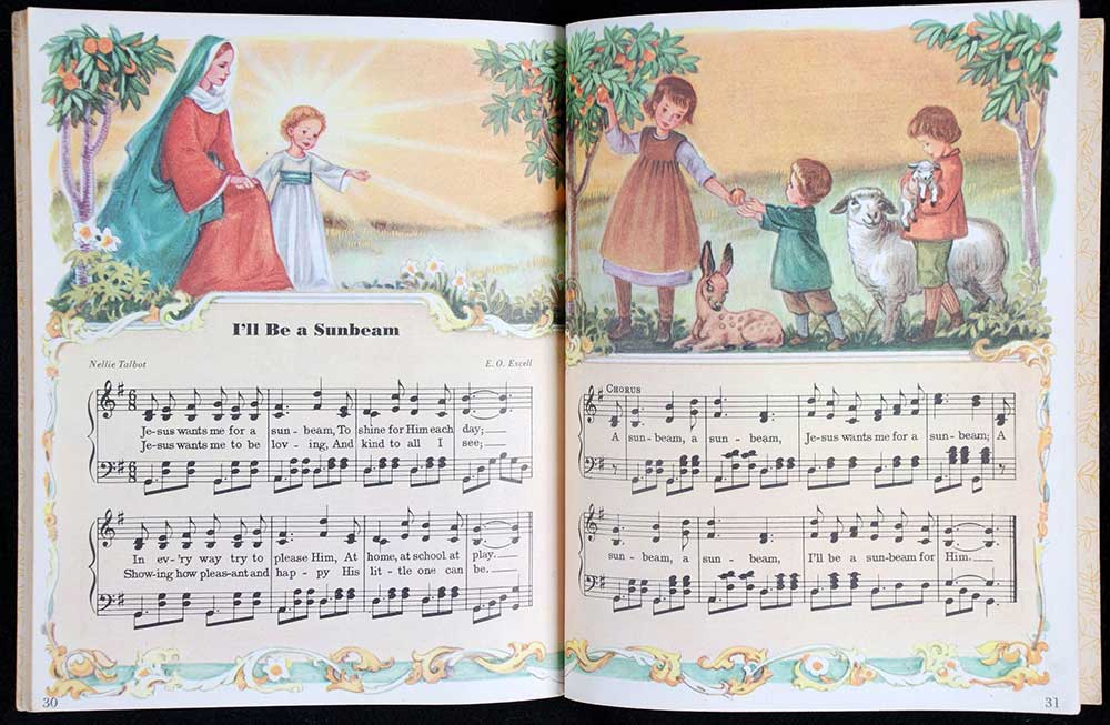 Elsa Jane Werner (editor). <em>The little golden book of hymns.</em> Illustrated by Corinne Malvern. New York: Simon and Schuster, 1947.