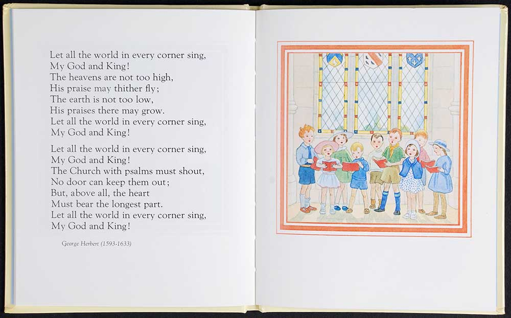 Elizabeth Laird (compiler). <em>Hymns for children.</em> Illustrated by Margaret Tempest. London: Collins, 1988.