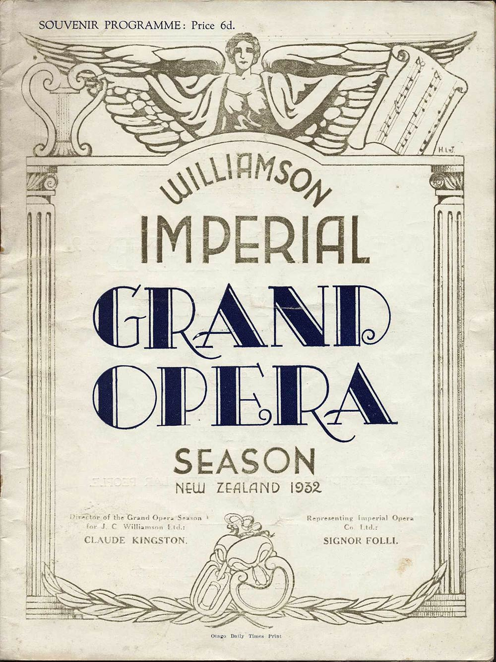 <em>Madame Butterfly</em>. Libretto by Luigi Illica and Guiseppe Giacosa; music by Giacomo Puccini. (Williamson Imperial Grand Opera). His Majesty's Theatre, Dunedin, Nov. 30, 1932.