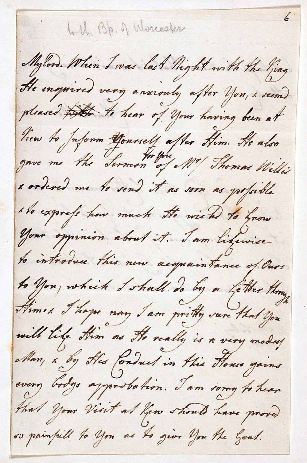 Letter signed. Charlotte, Queen Consort of George III (1744–1818), to Richard Hurd, Bishop of Worcester (1720–1808), Kew, 7 February 1789