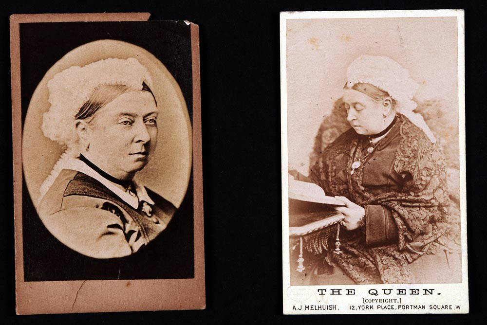 Two cartes de visite of Queen Victoria, one by Arthur J. Melhuish, London, both undated.