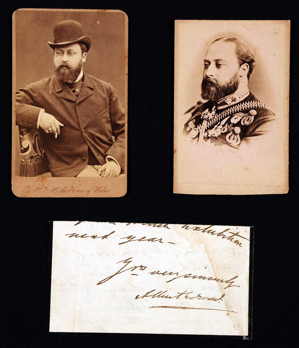 Two undated cartes de visite of Edward VII, both while Prince of Wales, and signature on letter fragment.
