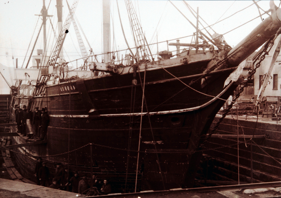 Photographs (copies). The <i>Aurora</i> in the Port Chalmers dock. Photographer: David Alexander De Maus, 14 September 1916; one of two.