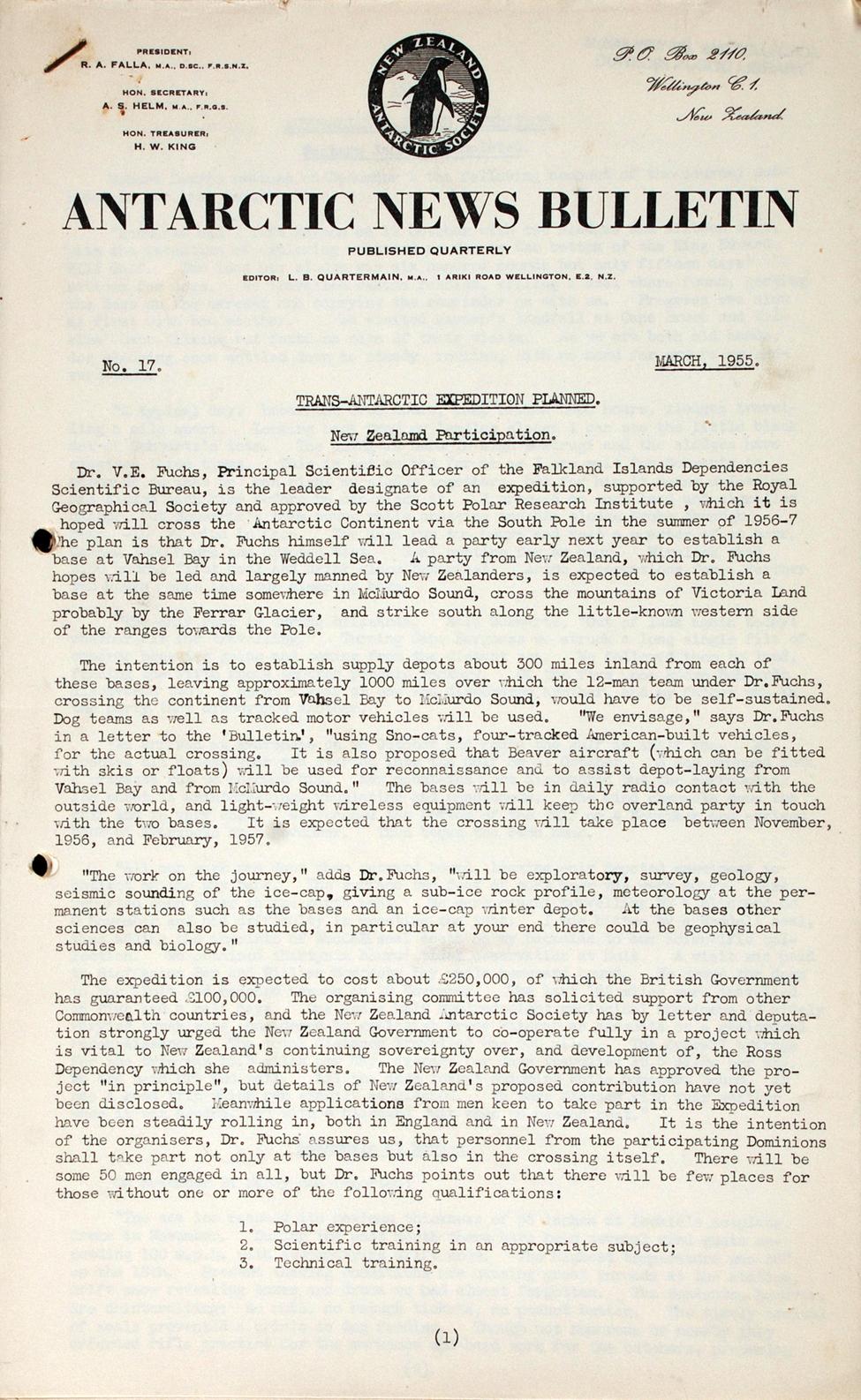 <i>Antarctic News Bulletin</i>. [Wellington]: New Zealand Antarctic Society, Nos. 17 and 18 (1955).
