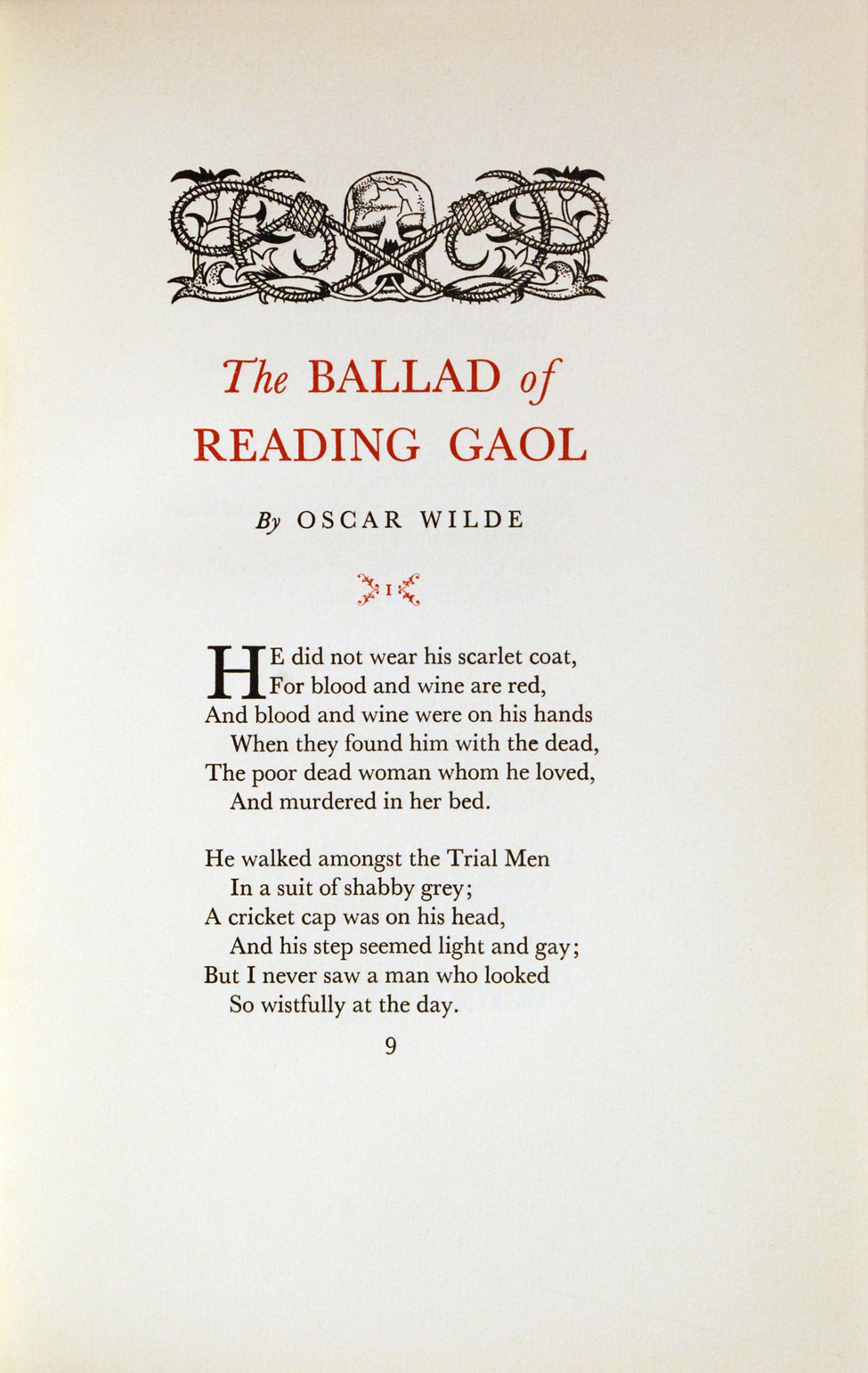 Oscar Wilde. The Ballad of Reading Gaol. <i>Christchurch: The Caxton Press, 1958.</i>