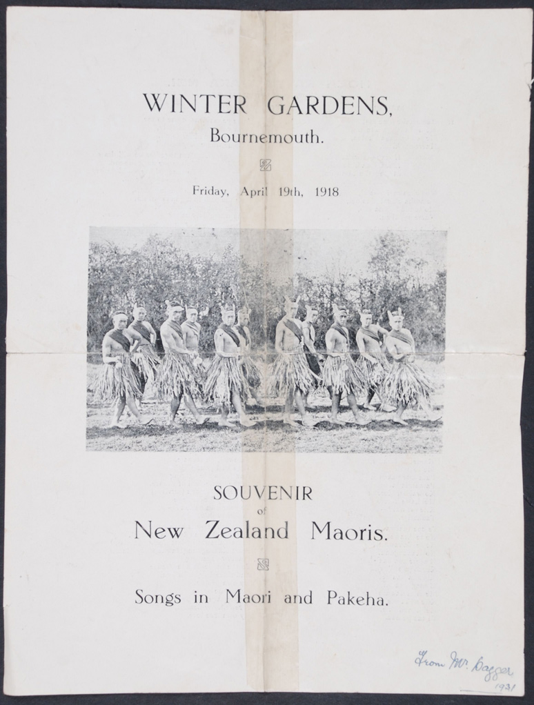Souvenir of the New Zealand Maoris. Programme and Song Sheet. Bournemouth, England, 19 April 1918