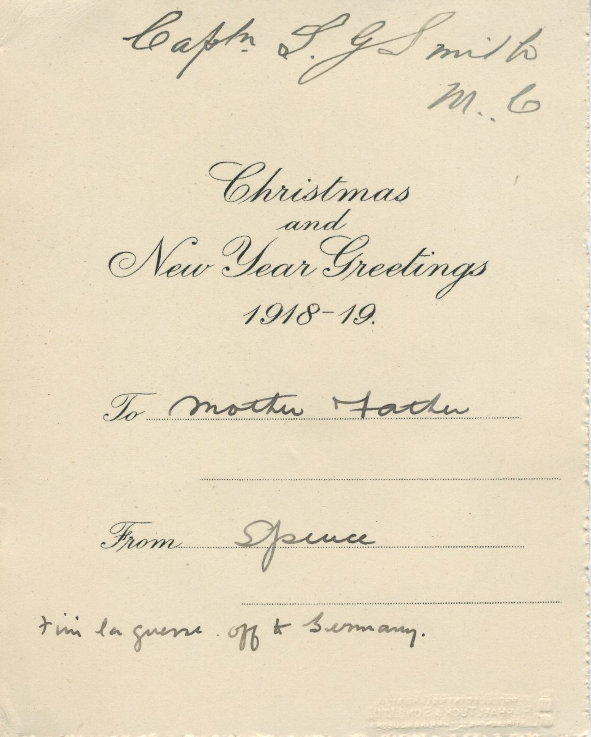 Christmas Card. 1st Battalion Canterbury, 1918