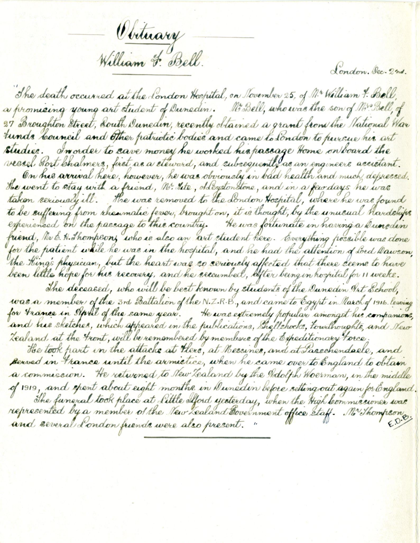 Obituary William F Bell in <i>Otago Daily Times</i>. Dec 2 1921, p. 3. Transcription by Elizabeth Dunbar Bryant