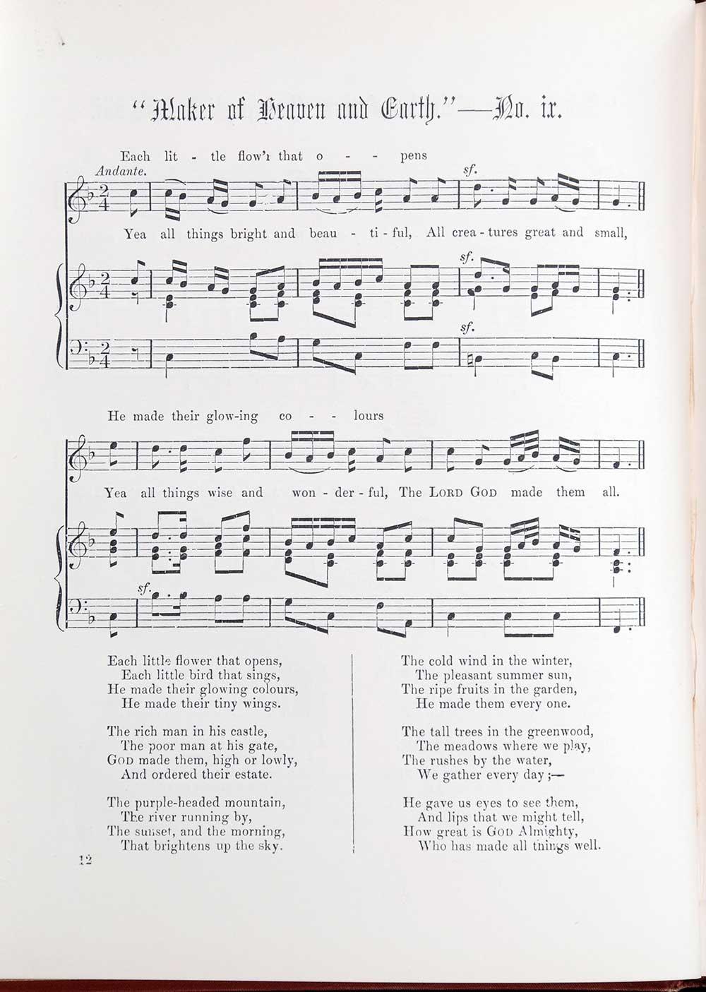 Cecil Francis Alexander (words) Henry J. Gauntlett (music). <em>Hymns for little children.</em> London: W. Walker, [1877?]