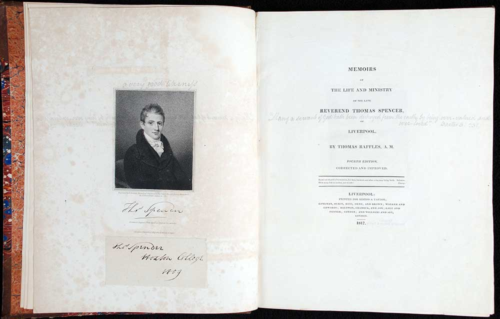 Thomas Raffles. <em>Memoirs of the life and ministry of the late Reverend Thomas Spencer of Liverpool</em>. 4th edition. Liverpool: Printed by Gregory & Taylor, 1817.