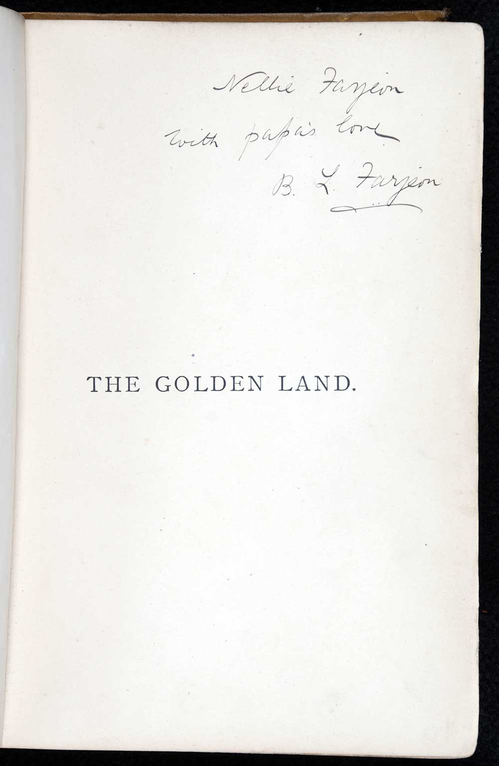 B.L. Farjeon. <em>The golden land, or, Links from shore to shore</em>. London: Ward, Lock & Co., 1886.