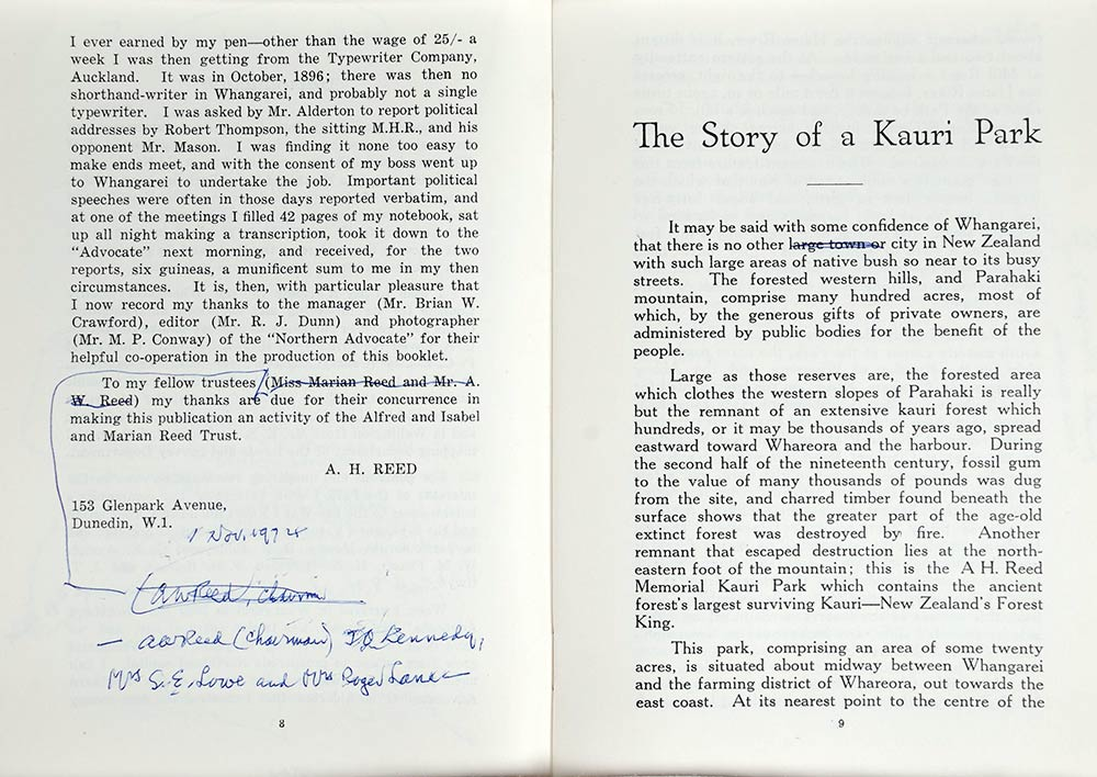 A.H. Reed. <em>The story of a kauri park</em>. Wellington: Reed, for the Alfred and Isabel and Marian Reed Trust, 1959.