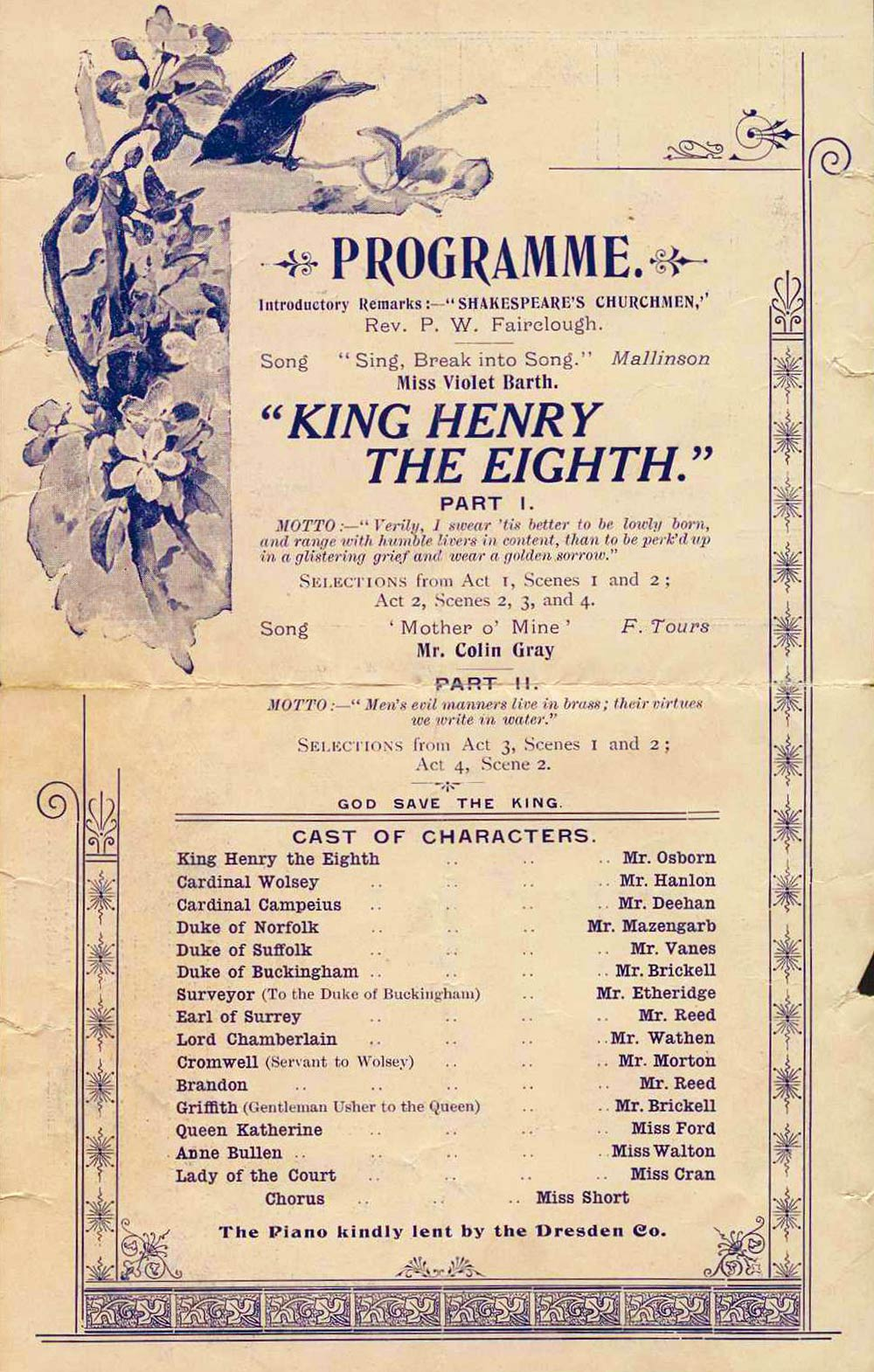 <em>King Henry the eighth</em>. William Shakespeare. (Dunedin Shakespeare Club). Burns Hall, Dunedin, Aug. 25, 1910.