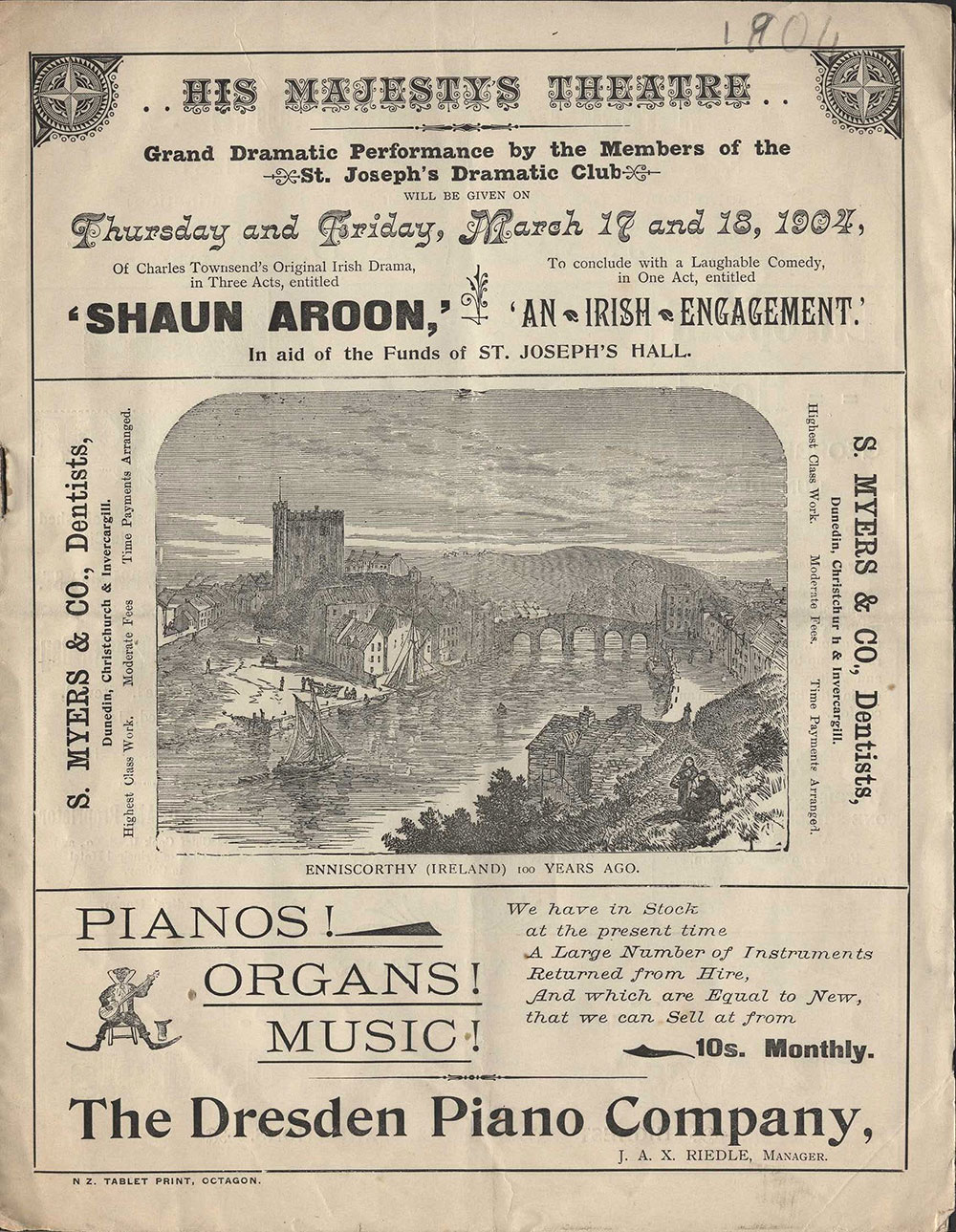 <em>Shaun Aroon</em>. Charles Townsend. <em>An Irish engagement</em>. (St Joseph's Dramatic Club). His Majesty's Theatre, Dunedin, Mar. 17-18, 1904.