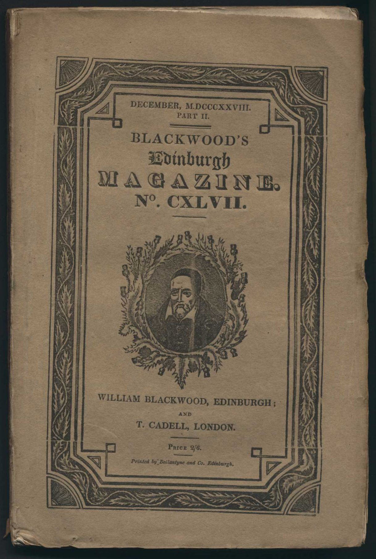 Blackwood's Edinburgh magazine. Vol. 147, no.24 (December, 1828).