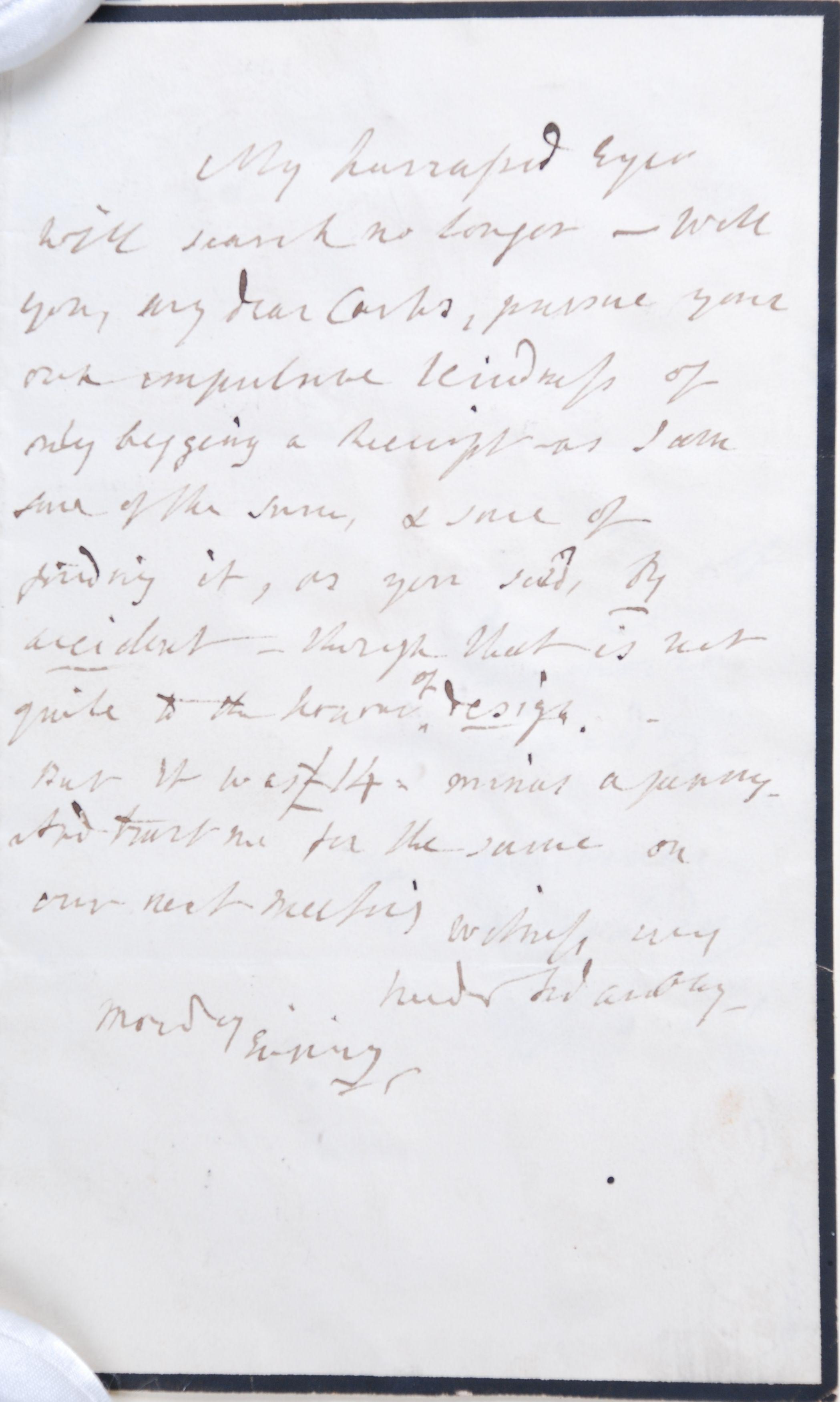 Reed Autograph Letters Album B4, no. 26: Fanny Burney.