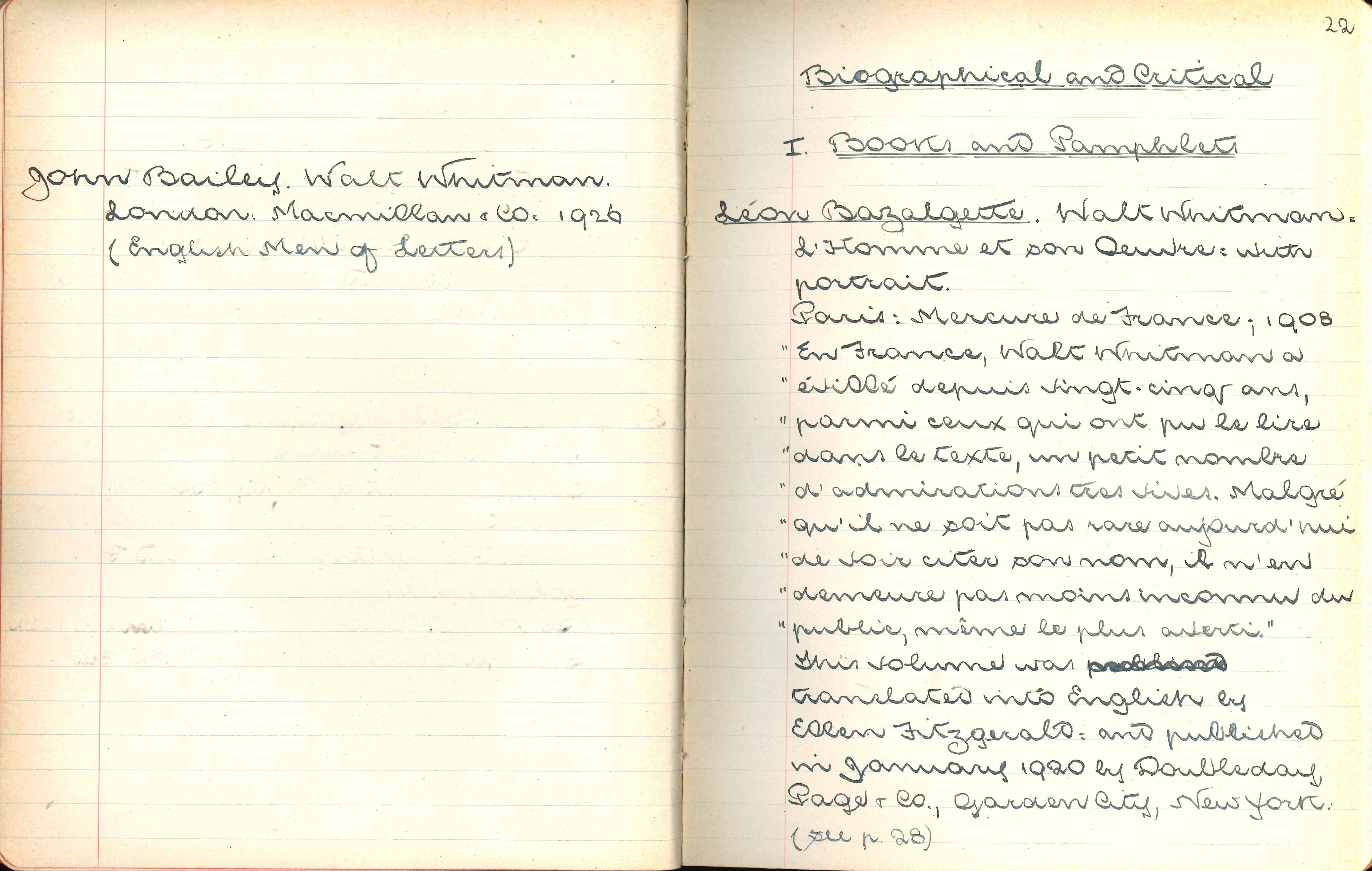 W.H. Trimble. Catalogue of a Collection of Walt Whitman Literature. Manuscript. [St Leonards, Otago, 1924]