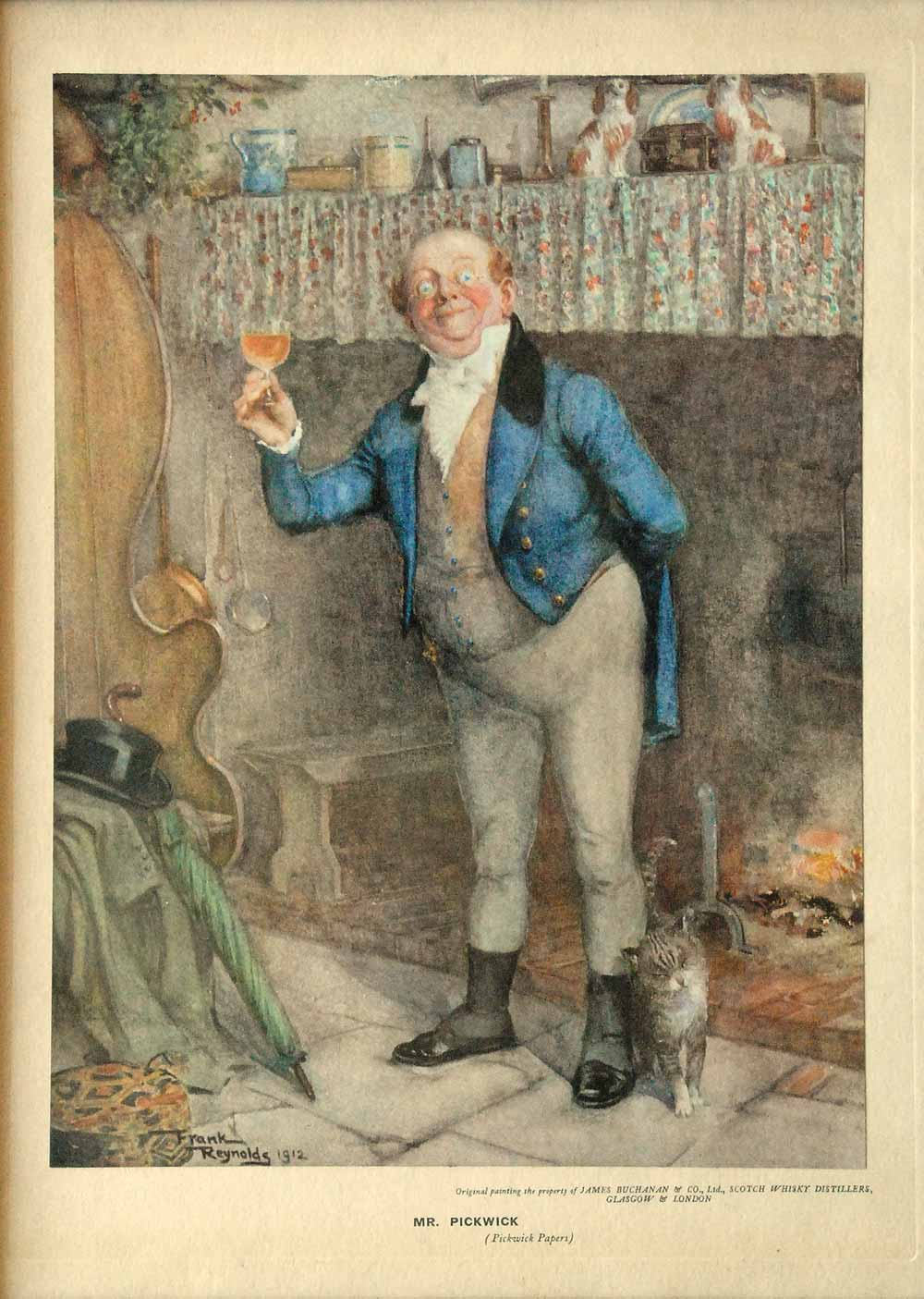 Framed reproduction of Frank Reynolds's painting of Mr. Pickwick, 1912.
