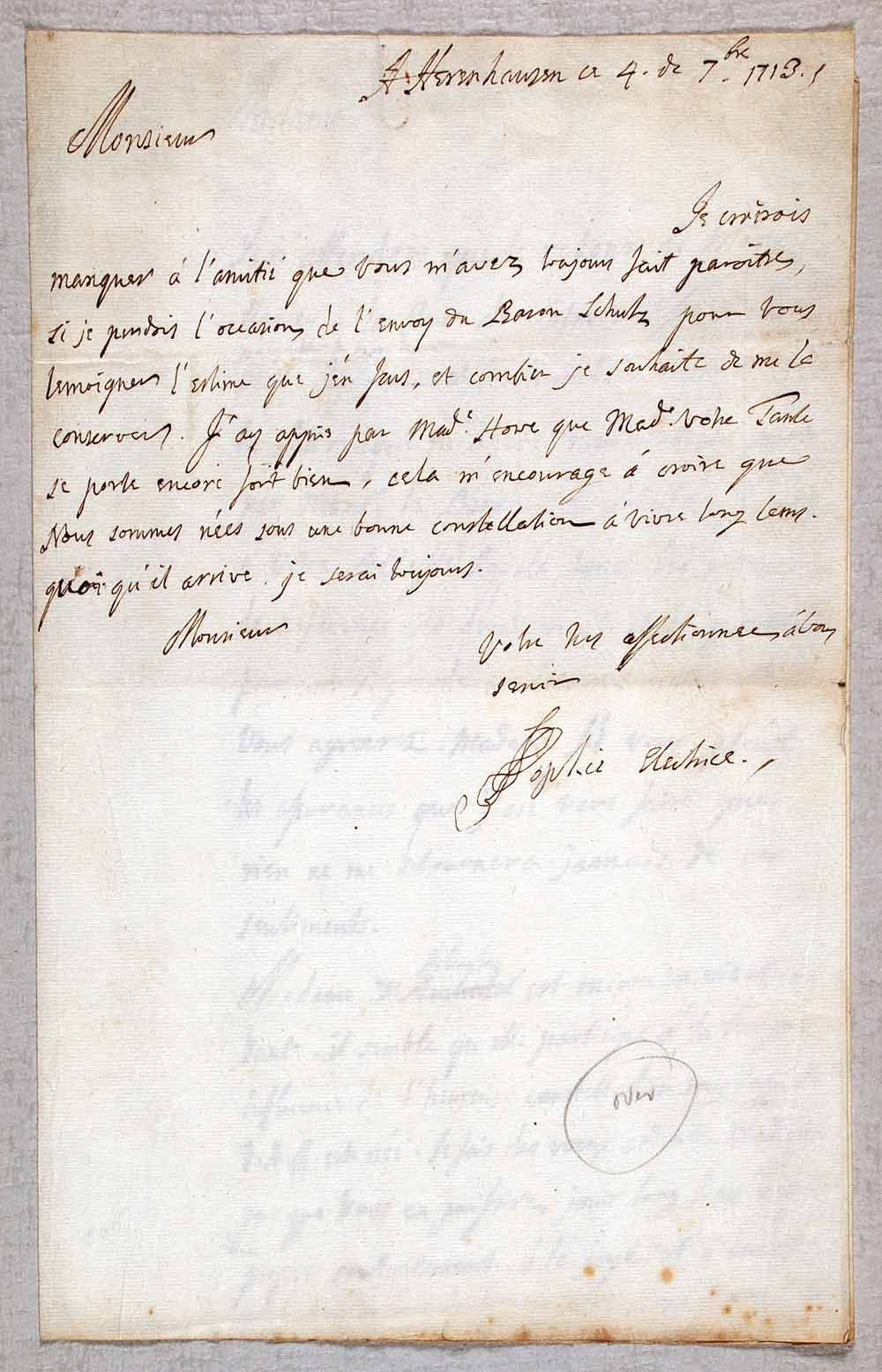 Letter concerning Baron Schutz and the recipient's family, in French, signed. Sophia, Electress of Hanover (1630–1714), to 'Monsieur', Herrenhausen, 4 September 1713.