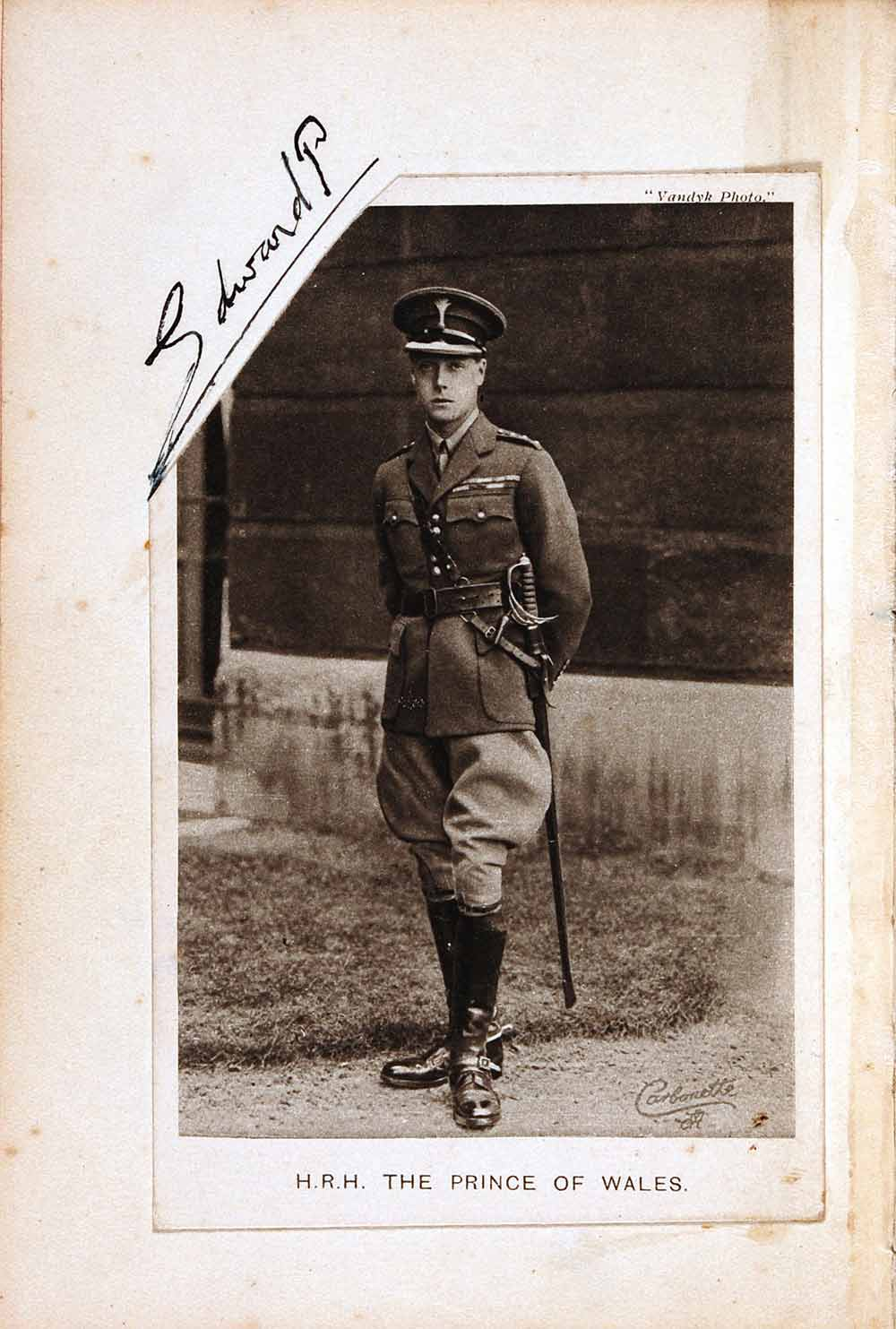 Signature and carte de visite of Edward VIII (1894–1972) when Prince of Wales, contained in 'Men of ANZAC, 1914–1918' date and signature book with additional material dating to the Second World War, undated.