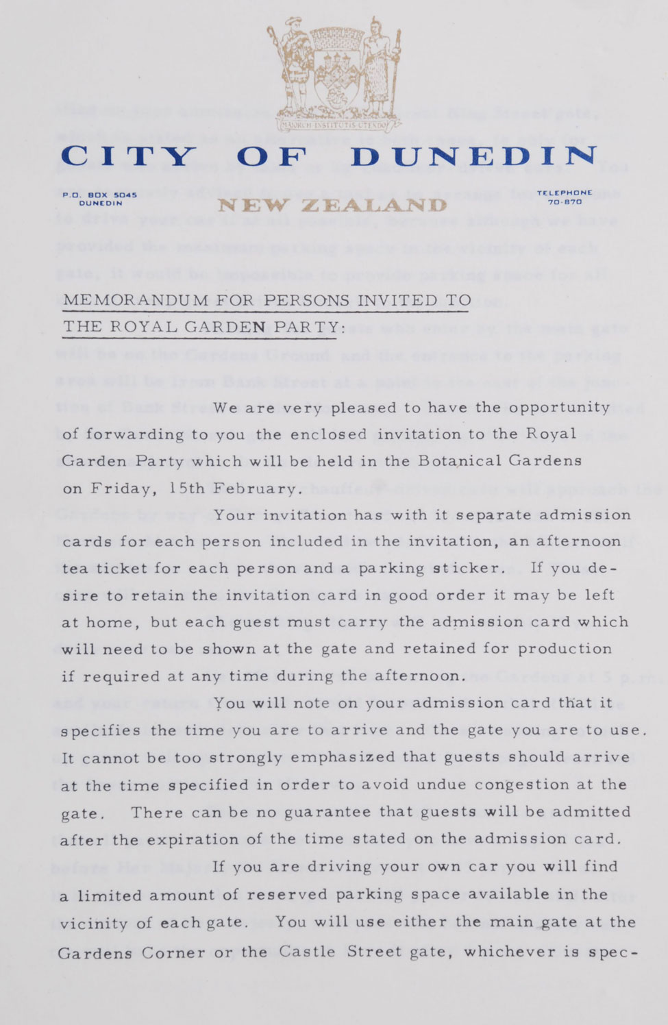 Memorandum for Persons Invited to the Royal Garden Party.
