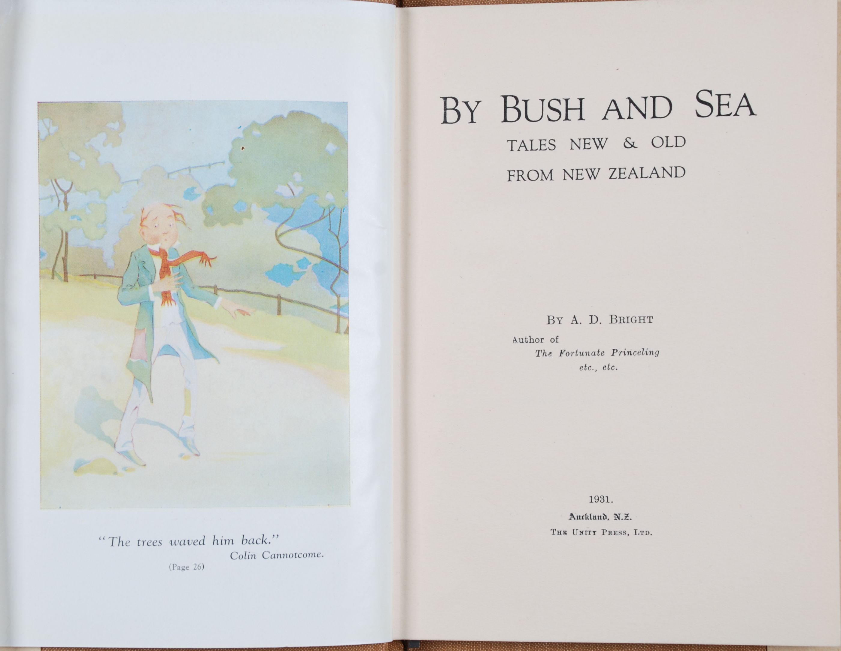 A.D. Bright. By bush and sea : tales old & new from New Zealand; illustrations by  Kennaway and Frank Wright. Auckland, N.Z.: Unity Press, 1931.