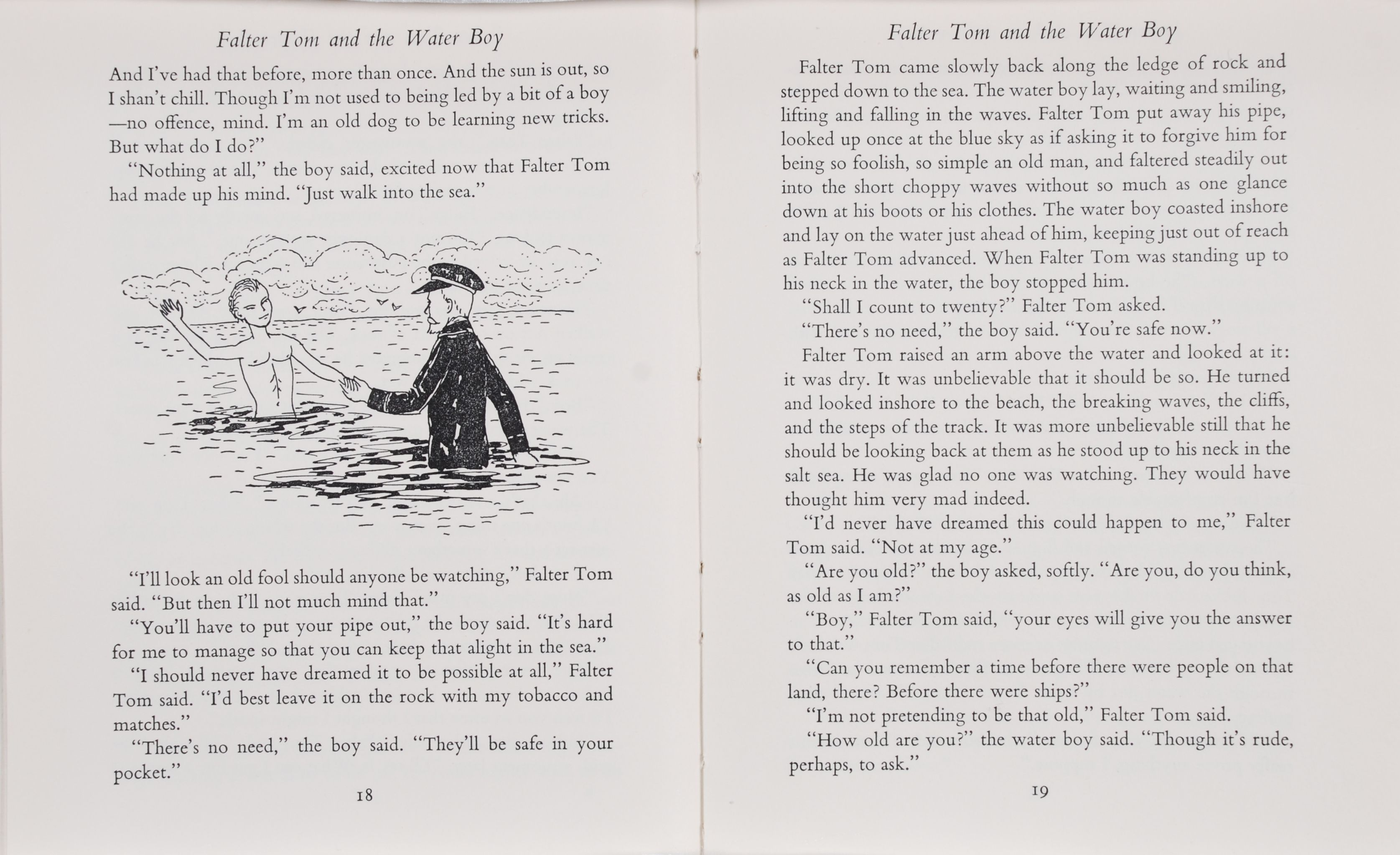 Maurice Duggan.  Falter Tom and the Water Boy.  London: Faber and Faber; New Zealand: Paul's Book Arcade, 1958