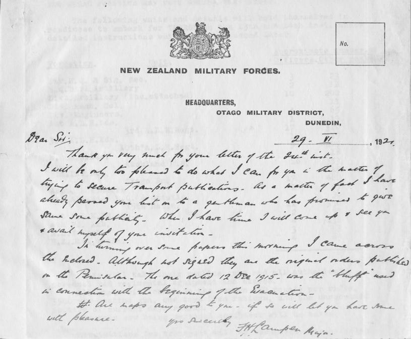 Francis Henry Lampen to Dear Sir. Letter. Dunedin, New Zealand Military Forces, 29 July 1921 in Army Corps Orders, Gallipolli Apr-Dec 1915