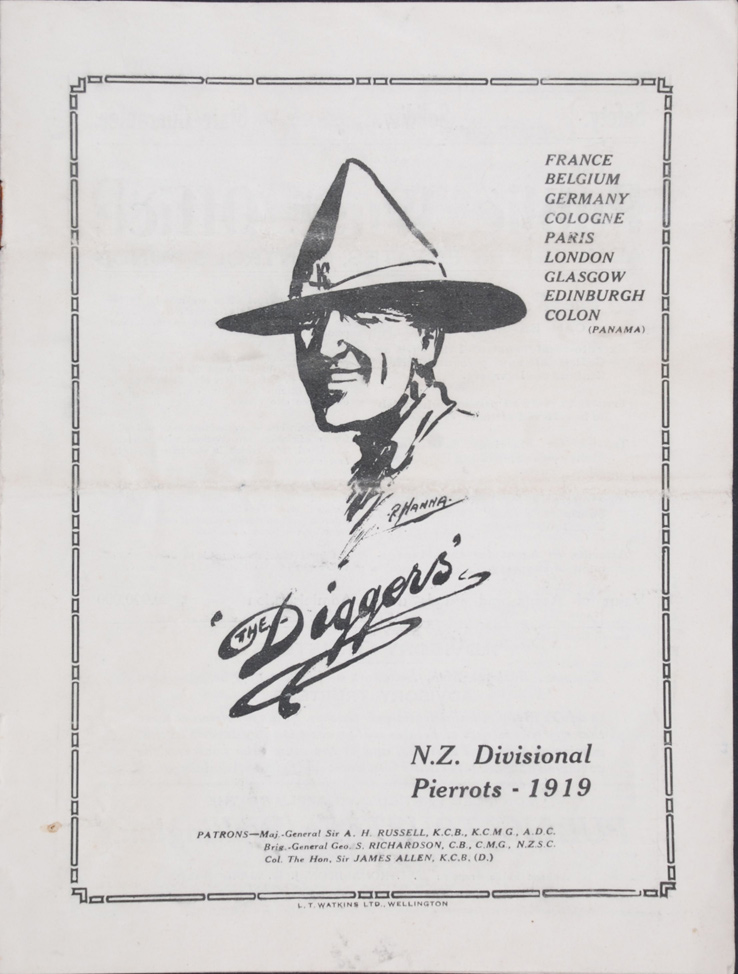 The Diggers. Programme. N.Z. Divisional Pierrots, 1919
