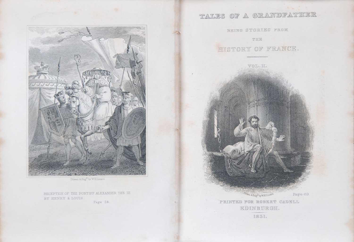 [Sir Walter Scott]. <em>Tales from a grandfather: being stories taken from the history of France</em>. [1st edition]. Printed for Robert Cadell, Edinburgh; Whittaker and Co., London; and John Cumming, Dublin, 1831. Three volumes; Vol. 2 displayed.