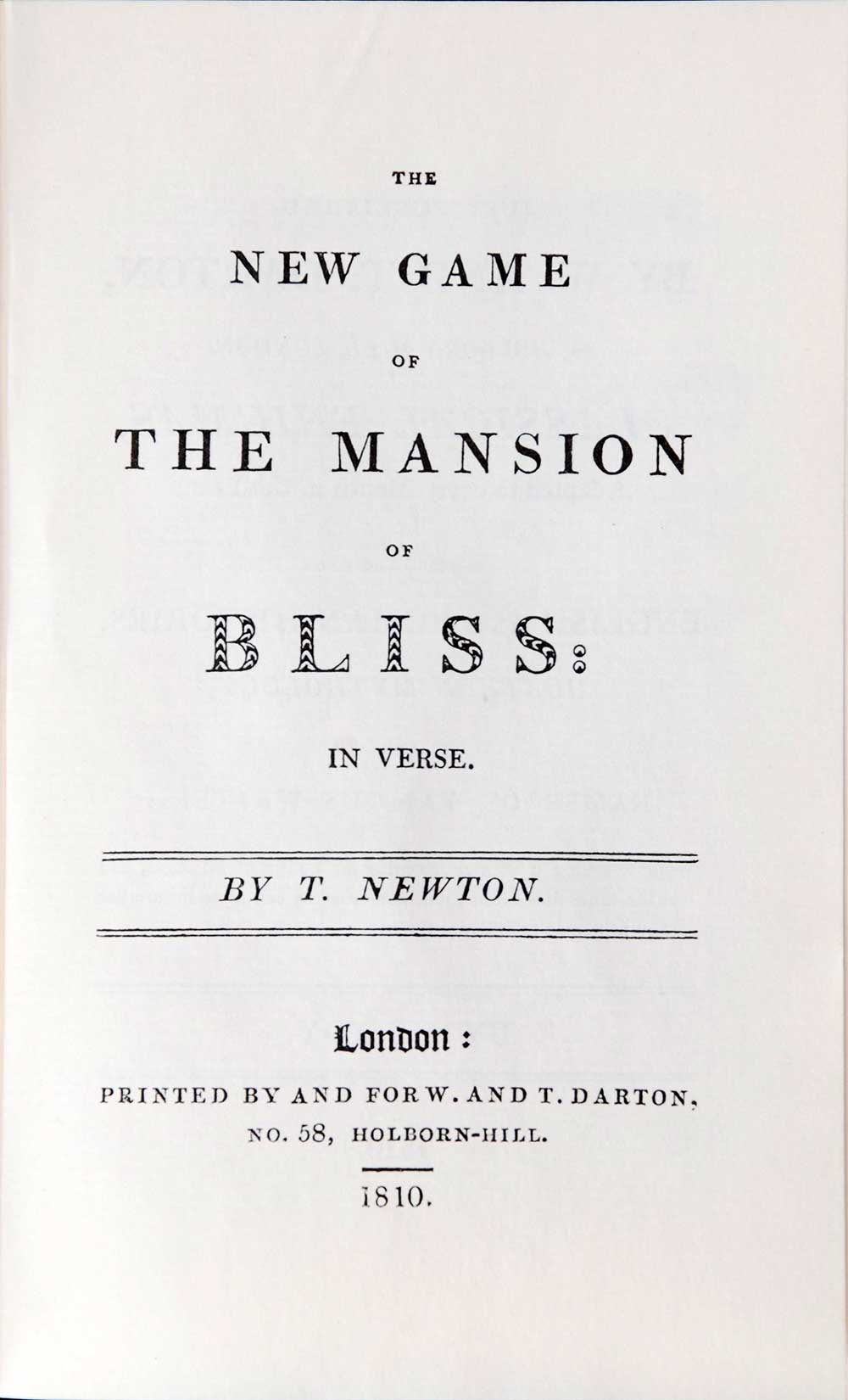T. Newton. <em>The new game of the mansion of bliss: in verse.</em> London: Bodley Head, 1981.