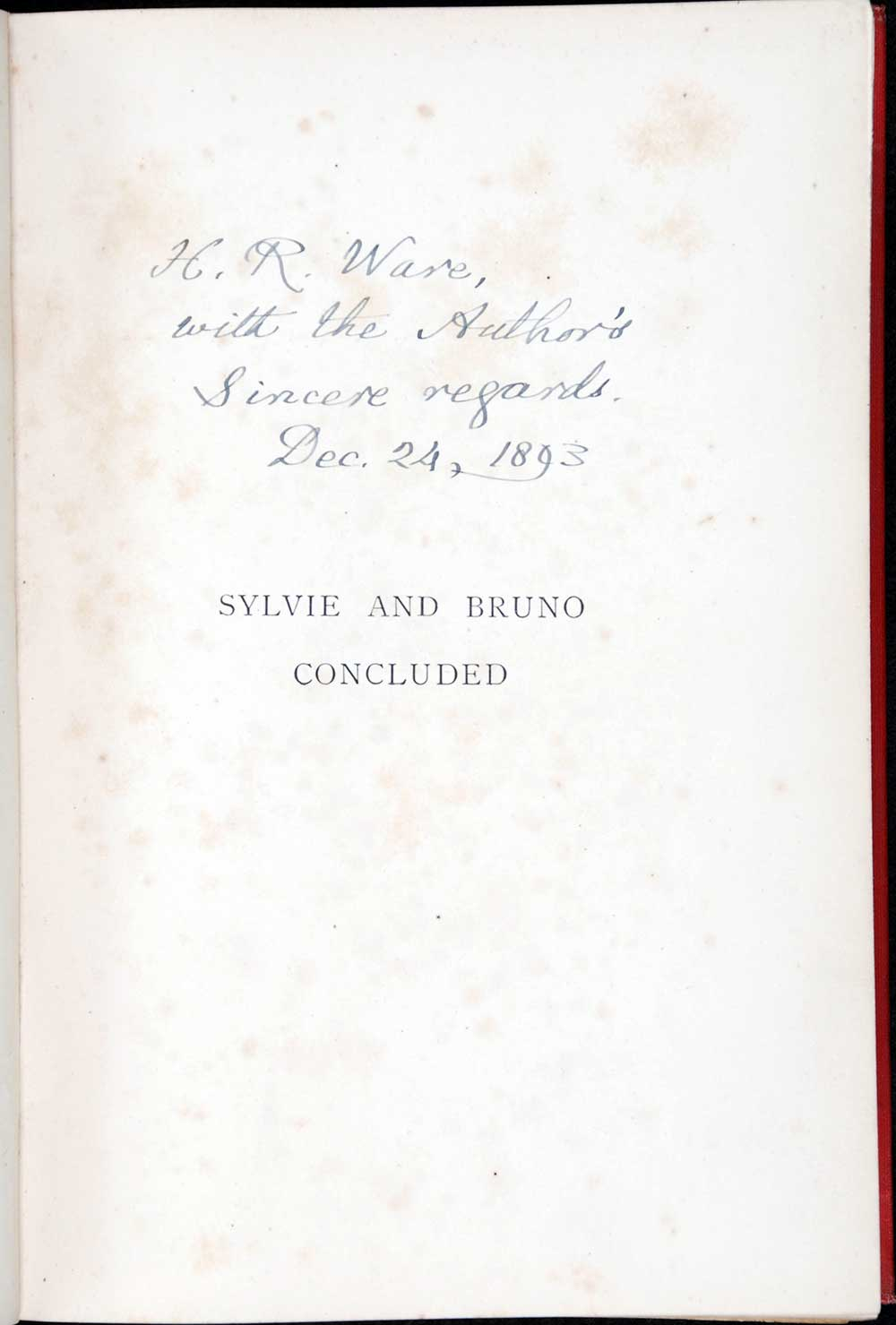 Lewis Carroll. <em>Sylvie and Bruno concluded</em>. London: Macmillan and Co., 1893.